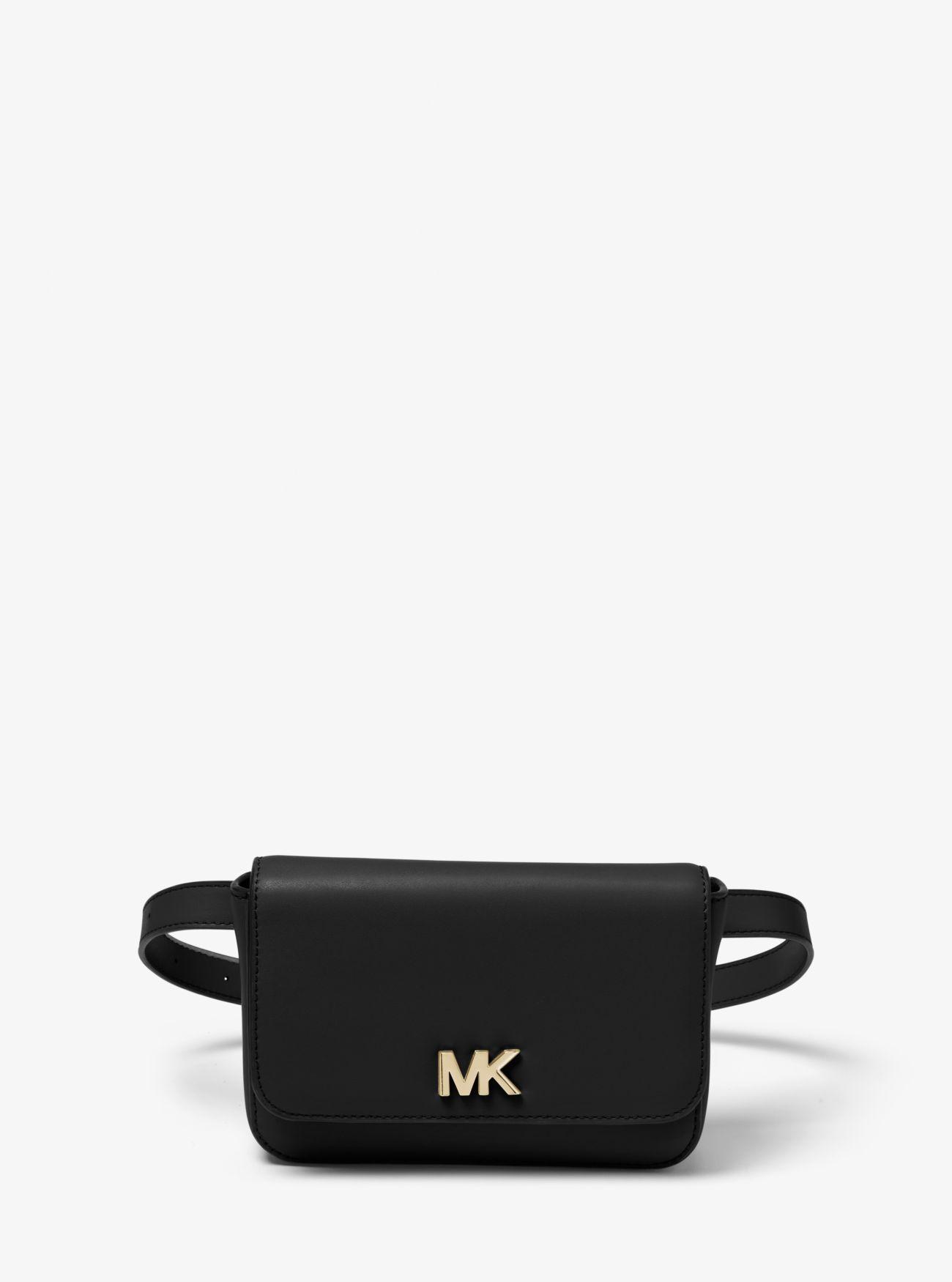 a66b5c63d742 Michael Kors Mott Leather Belt Bag in Black - Save 35% - Lyst