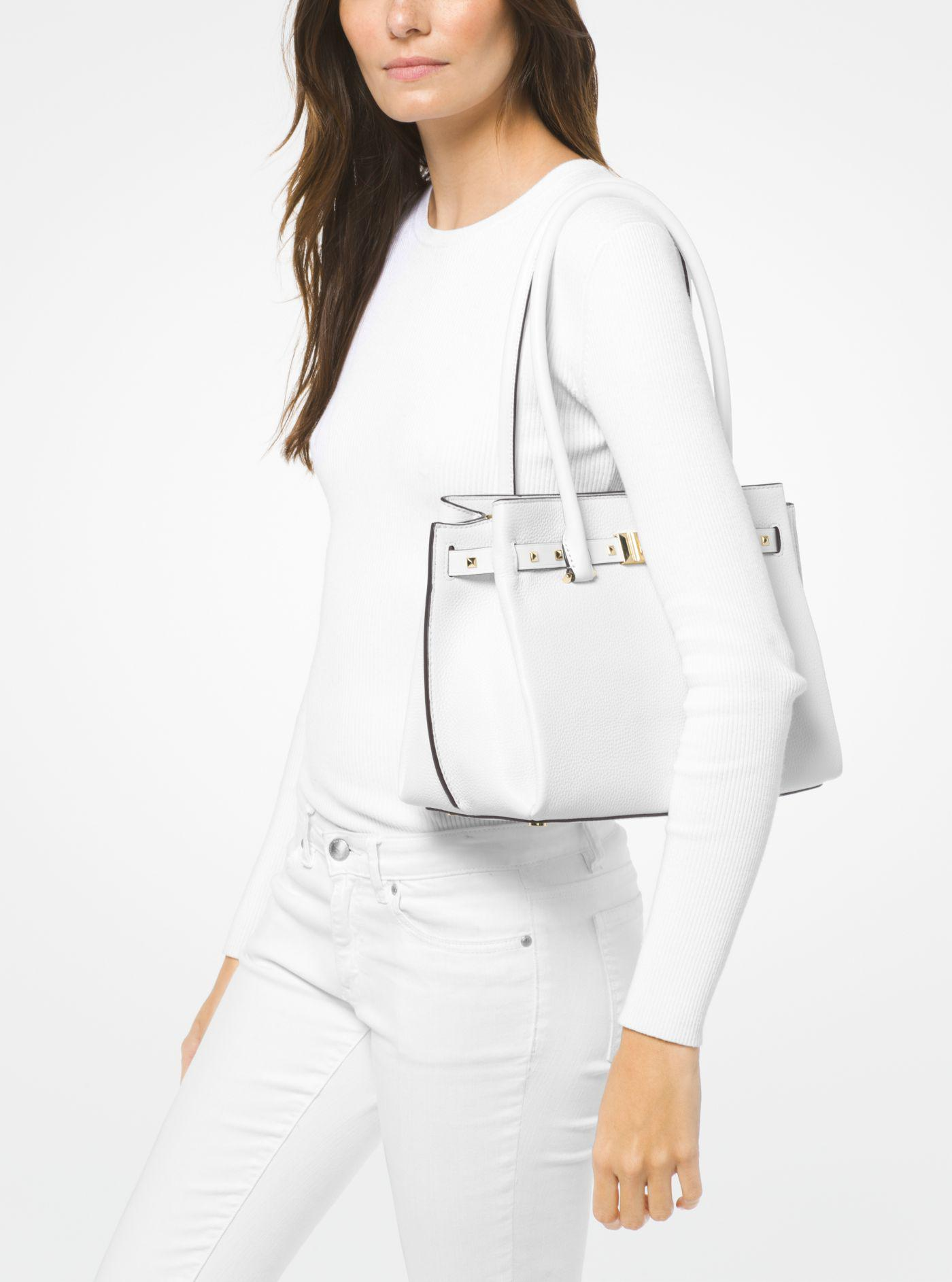 d2daef415f67 Michael Kors Addison Medium Pebbled Leather Tote Bag in White - Lyst