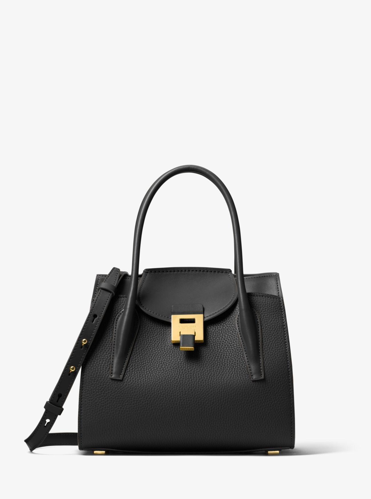2c5a16b1cdf1 Michael Kors Bancroft Medium Pebbled Calf Leather Satchel in Black ...