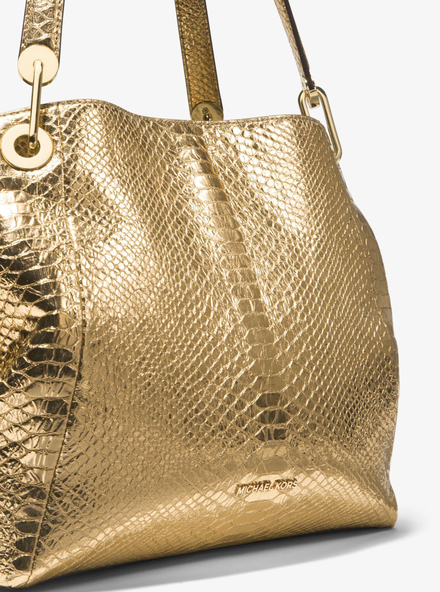 0a1f7274d3d6 Michael Kors Raven Metallic Snake-embossed-leather Shoulder Bag in ...