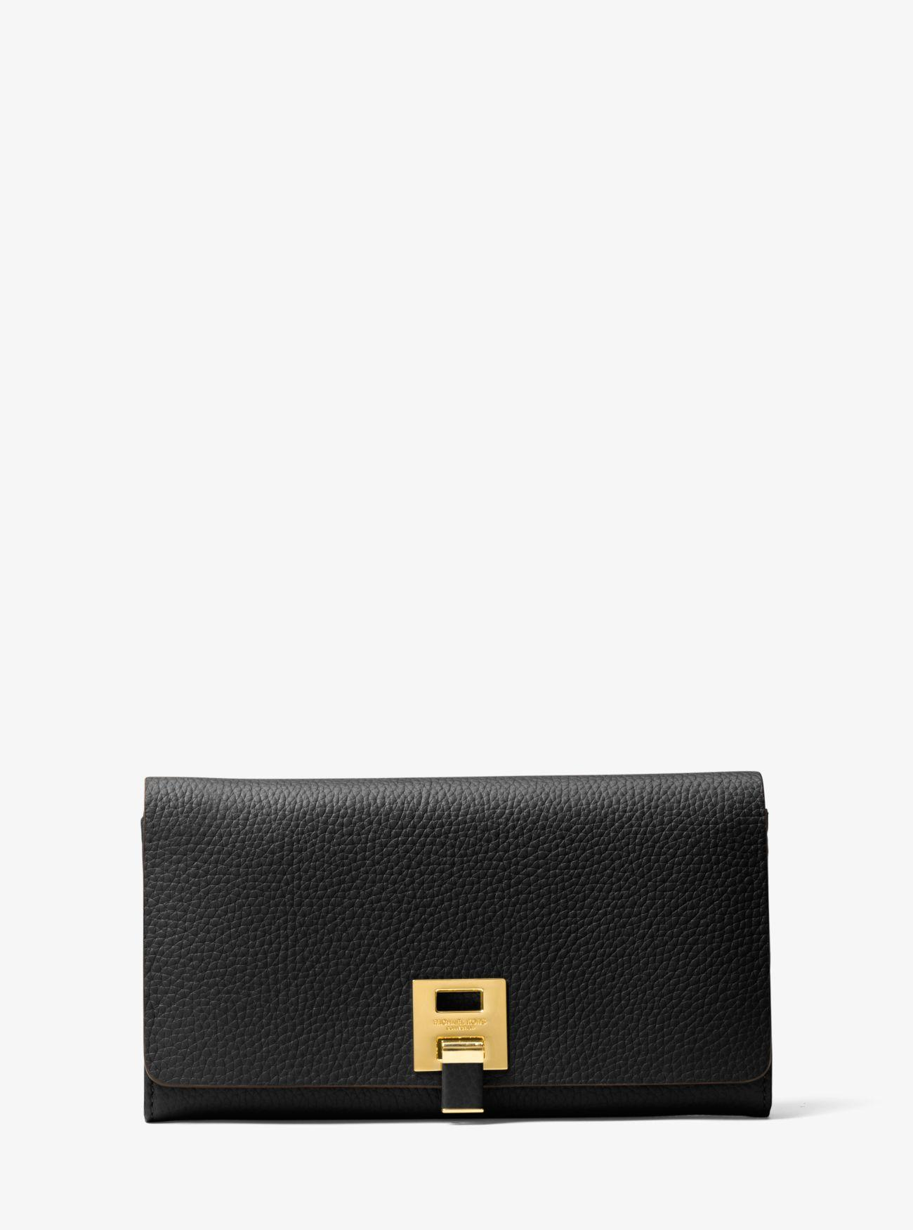 a589643f38e7 Michael Kors Bancroft Pebbled Calf Leather Continental Wallet in ...