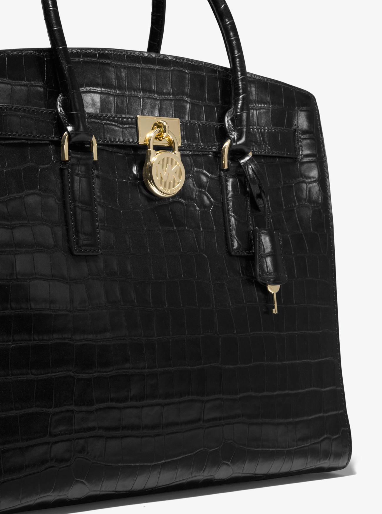 5a5a59ba879689 Michael Kors Hamilton Embossed-leather Weekender in Black - Lyst