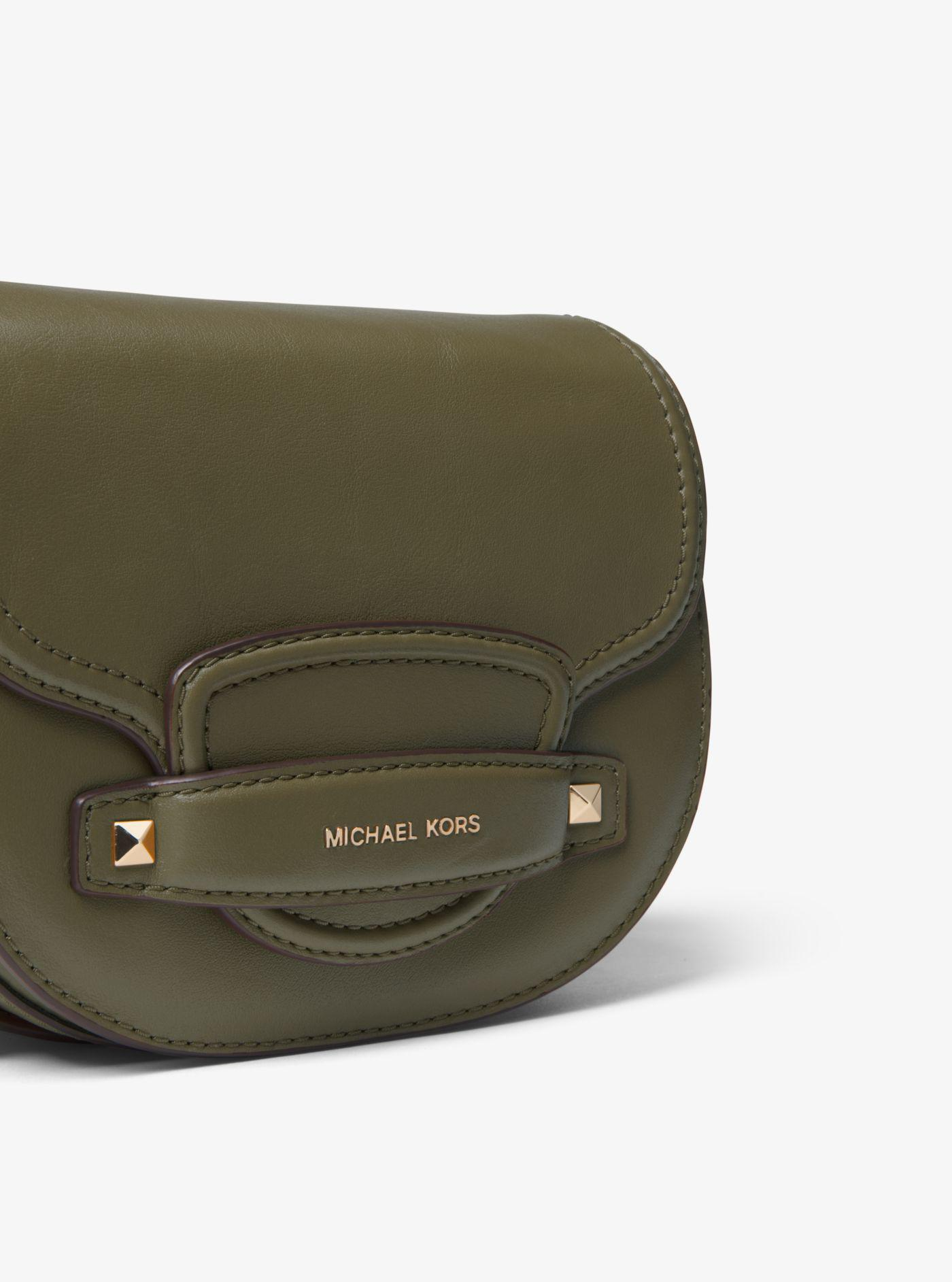 b3fed0db6158 Michael Kors Cary Small Leather Saddle Bag in Green - Lyst