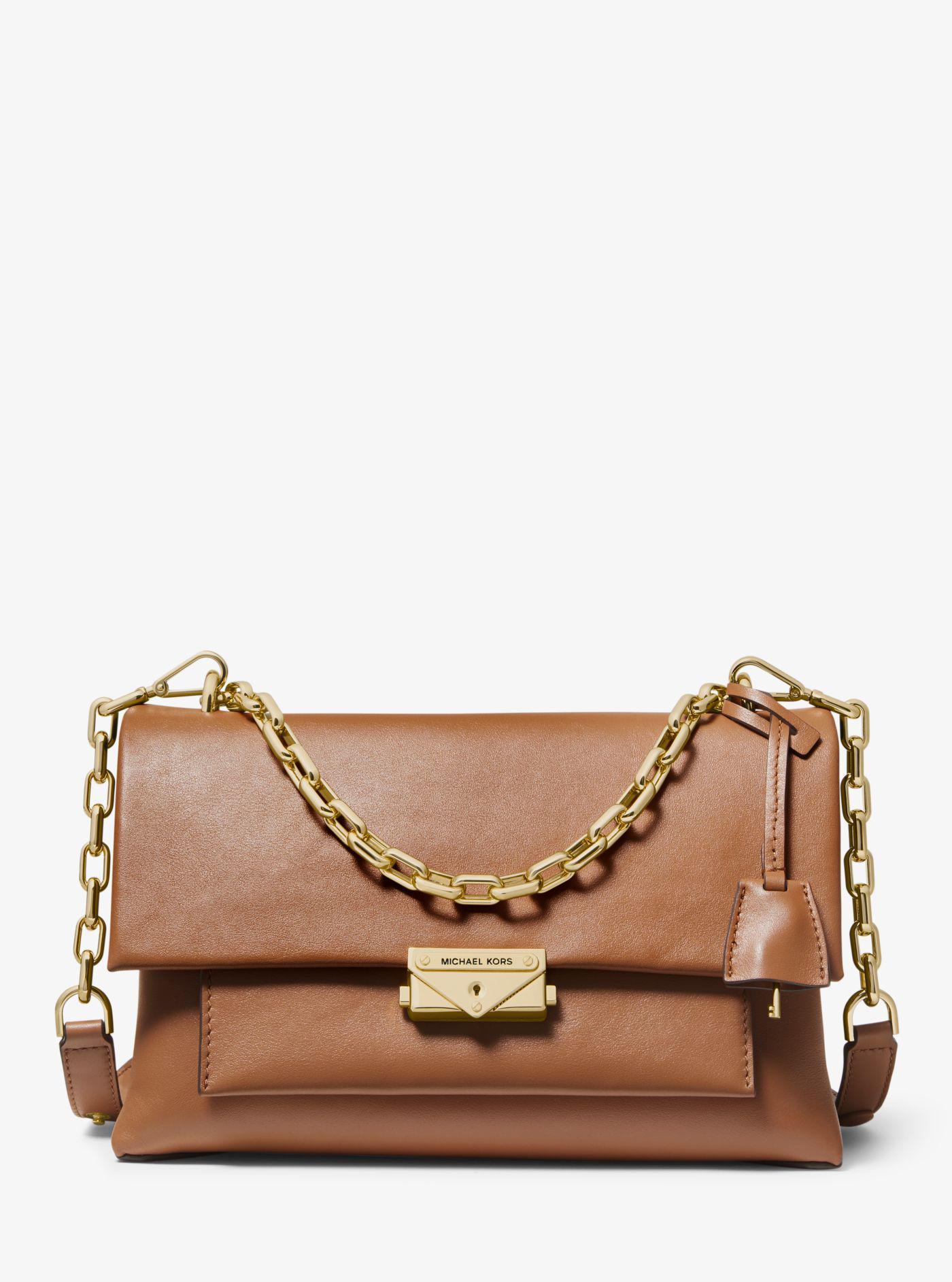 216347e6bc40 Michael Kors Cece Large Leather Shoulder Bag in Brown - Lyst