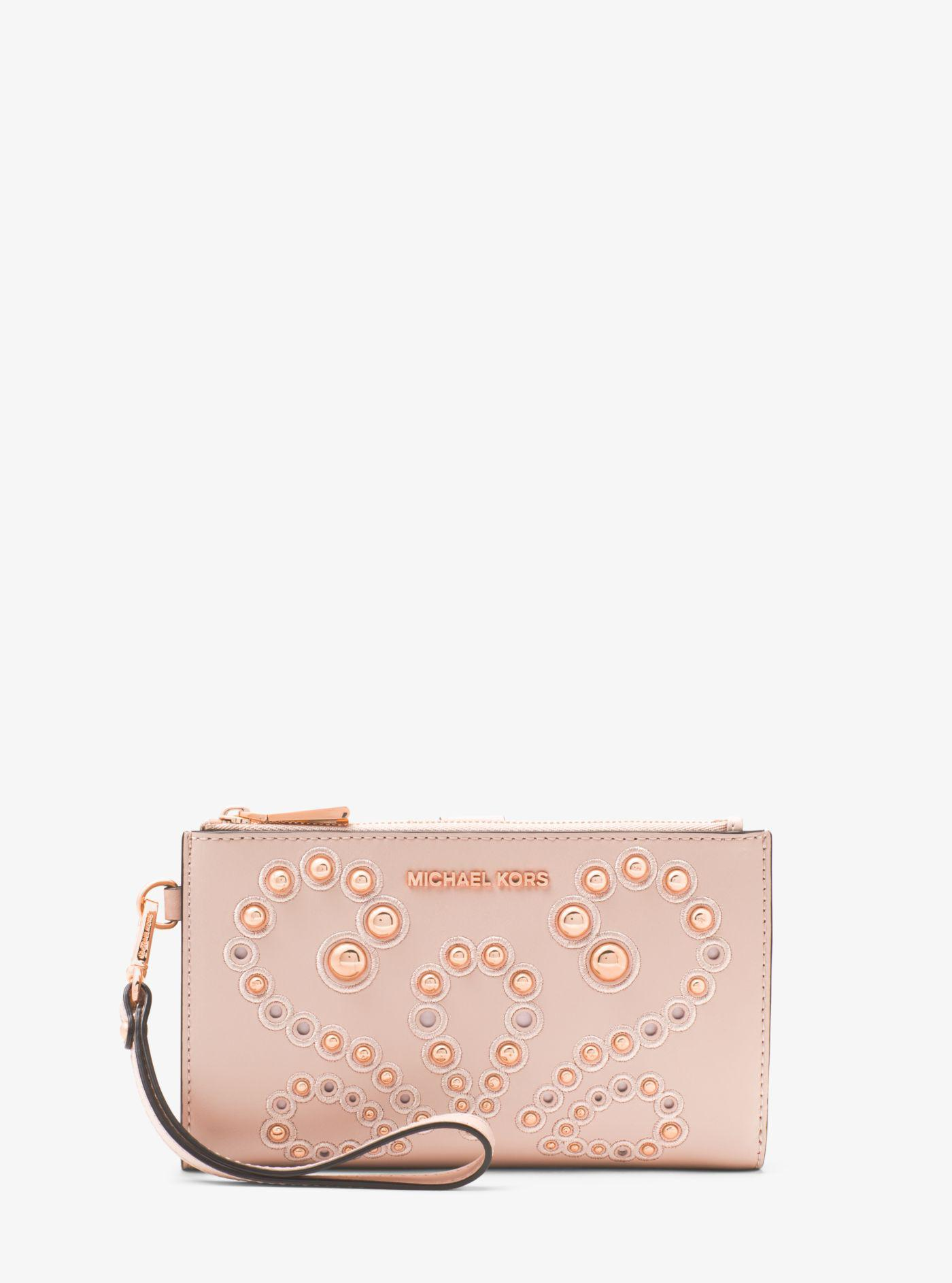 ed2bb43cb41ab5 Michael Kors Adele Embellished Leather Smartphone Wallet in Pink - Lyst