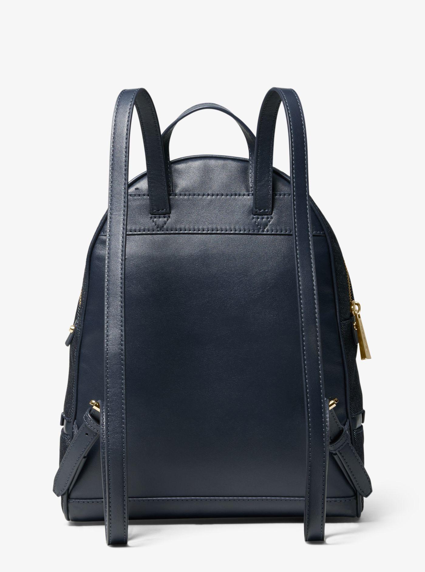 3be8ee34c30 Michael Kors - Blue Rhea Medium Denim Logo Backpack - Lyst. View fullscreen