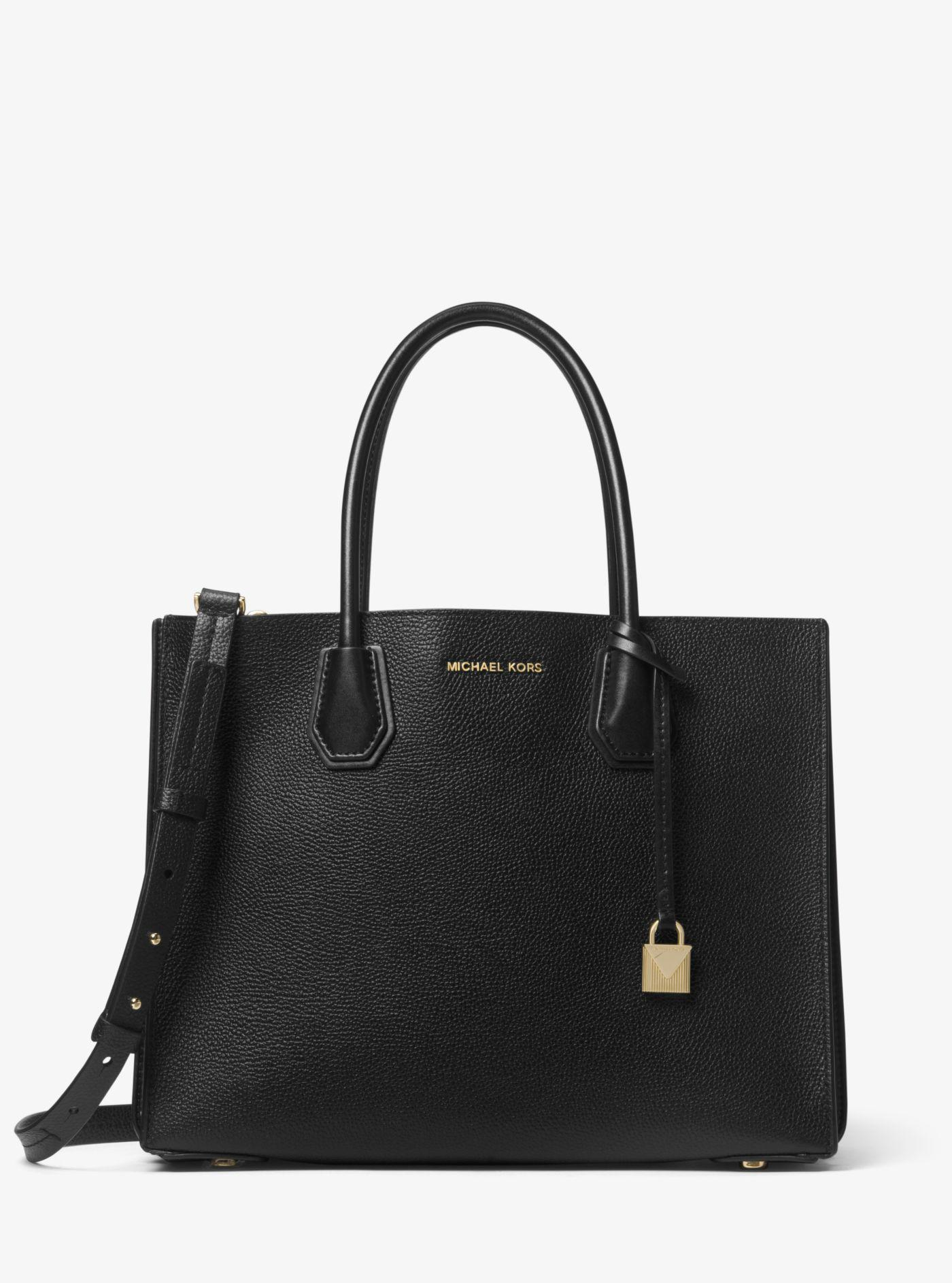 MICHAEL Michael Kors. Women s Mercer Large Accordion Convertible Tote Bag  In Black Grained Calfskin 2df0fbe13