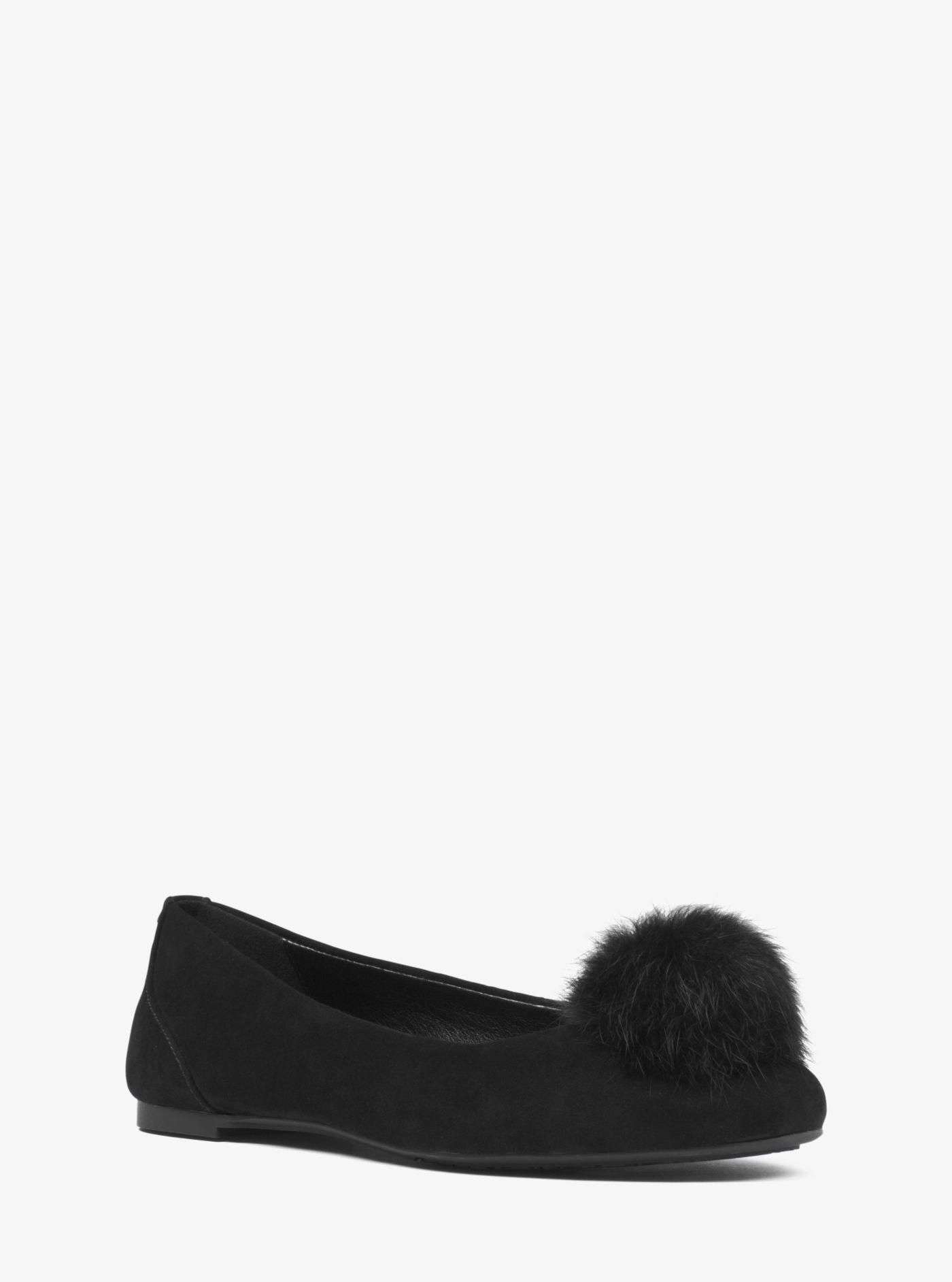 aea2806c0f4441 Lyst - Michael Kors Remi Pom-pom Suede Ballet Flat in Black