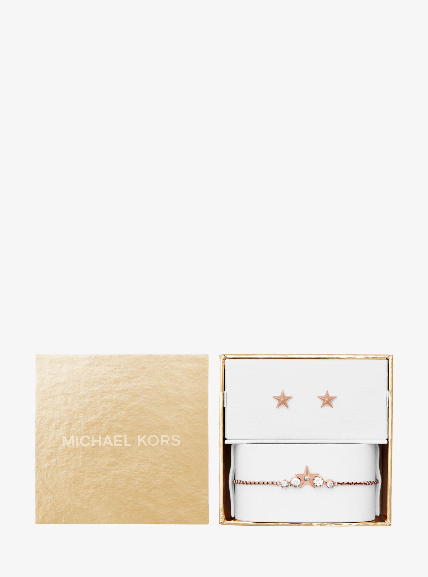 new authentic for whole family good looking Rose Gold-tone Star Slider Bracelet And Earrings Set