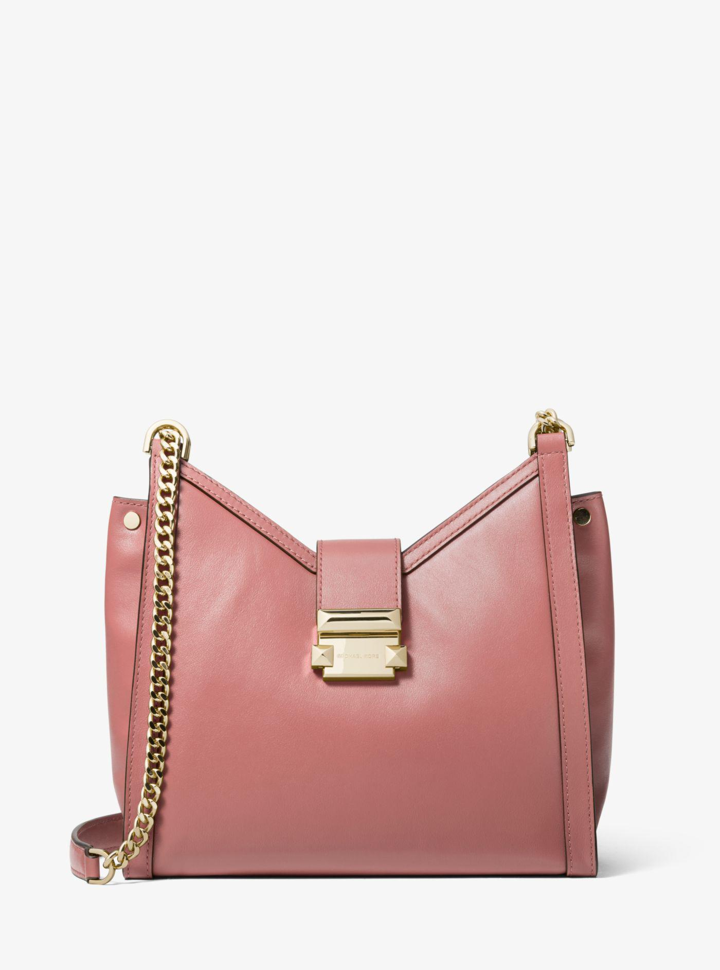 46bdec6b4c57 Michael Kors Whitney Small Leather Shoulder Bag in Pink - Lyst