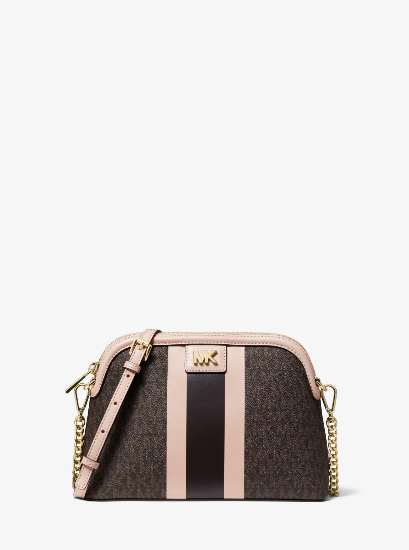 62629160bf93 MICHAEL Michael Kors. Women's Brown Large Logo Stripe Dome Crossbody Bag