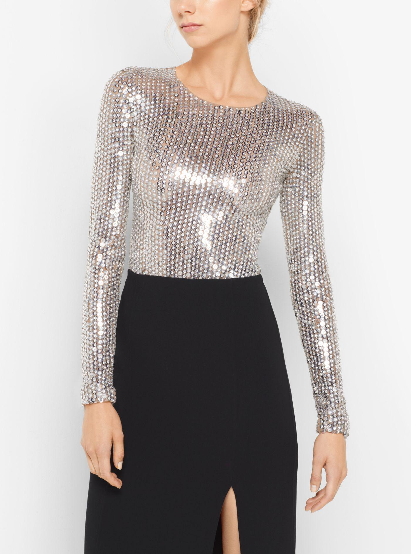 857bc0dc25 Michael Kors. Women s Sequin-embroidered Stretch-tulle Bodysuit