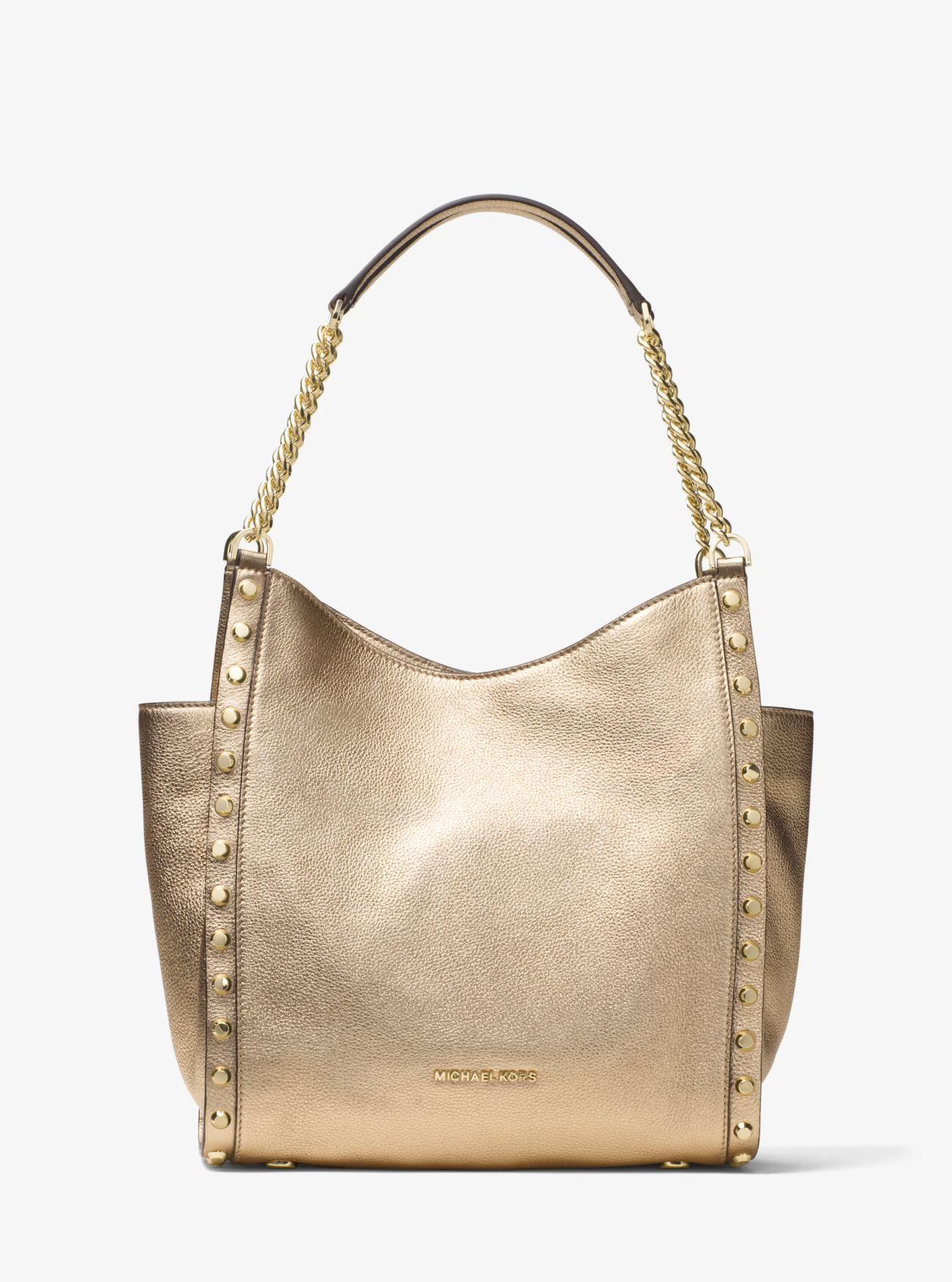 03682206d565c0 Michael Kors Newbury Medium Metallic Pebbled Leather Tote Bag in ...