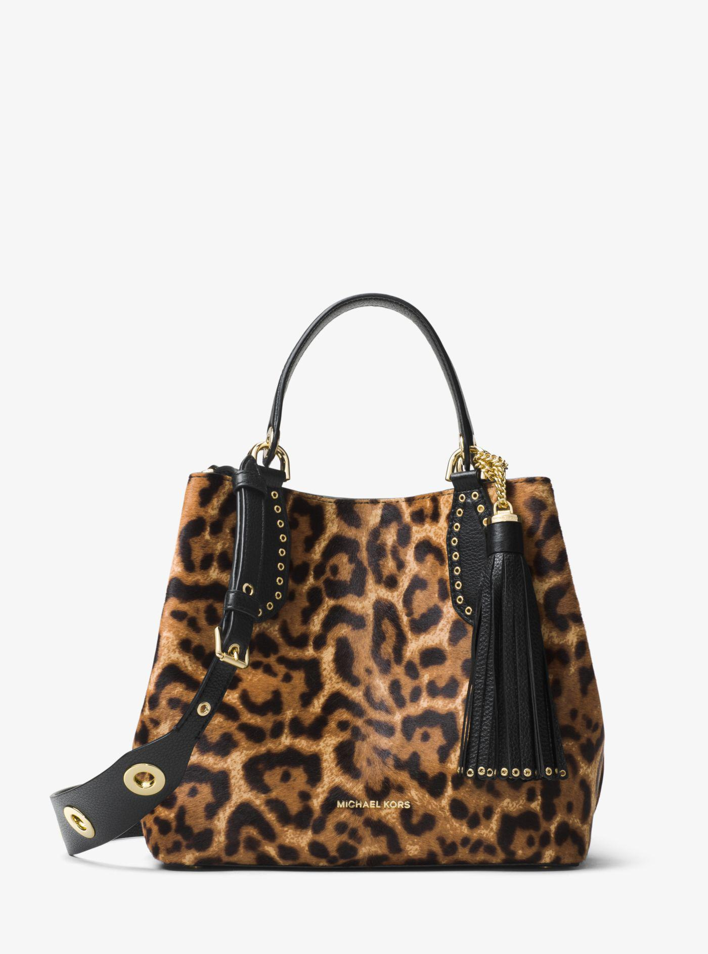 ae3627eb06c3 Michael Kors Brooklyn Leopard Calf Hair Tote - Lyst