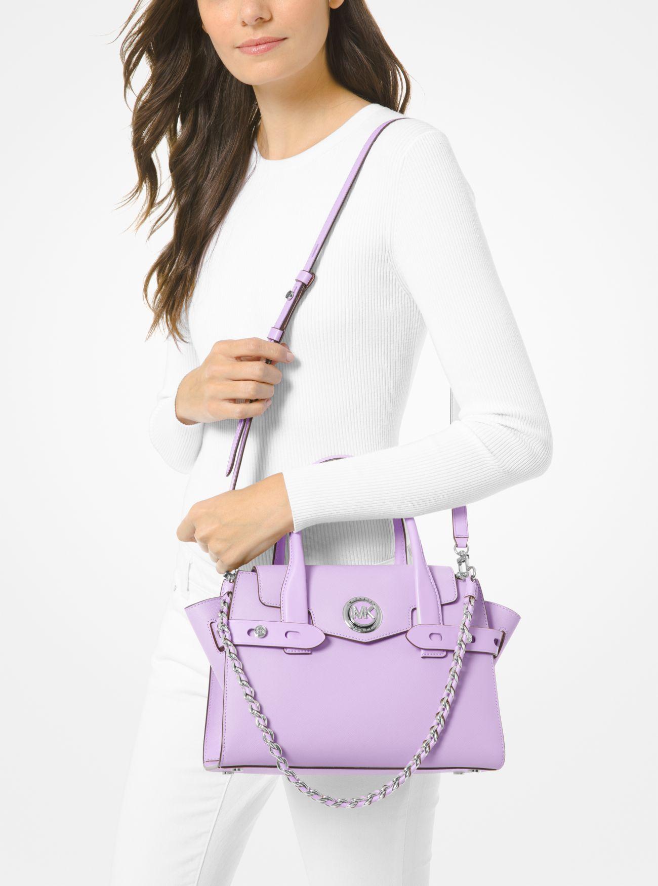 Petit sac porté main Carmen en cuir saffiano à ceinture