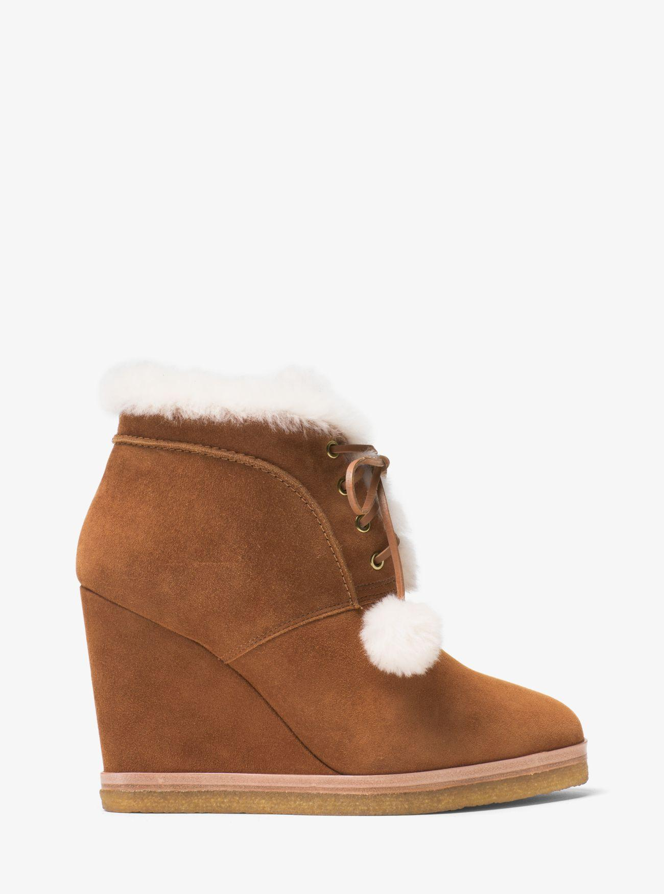 Michael Kors Chadwick Suede And Shearling Wedge Boot in Brown