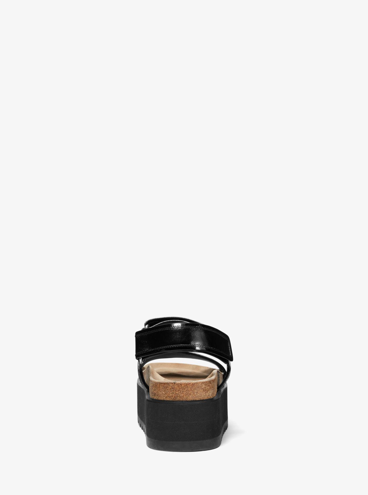 6c9ef7f4be43 Michael Kors - Black Elsie Calf Leather Flatform Sandal - Lyst. View  fullscreen
