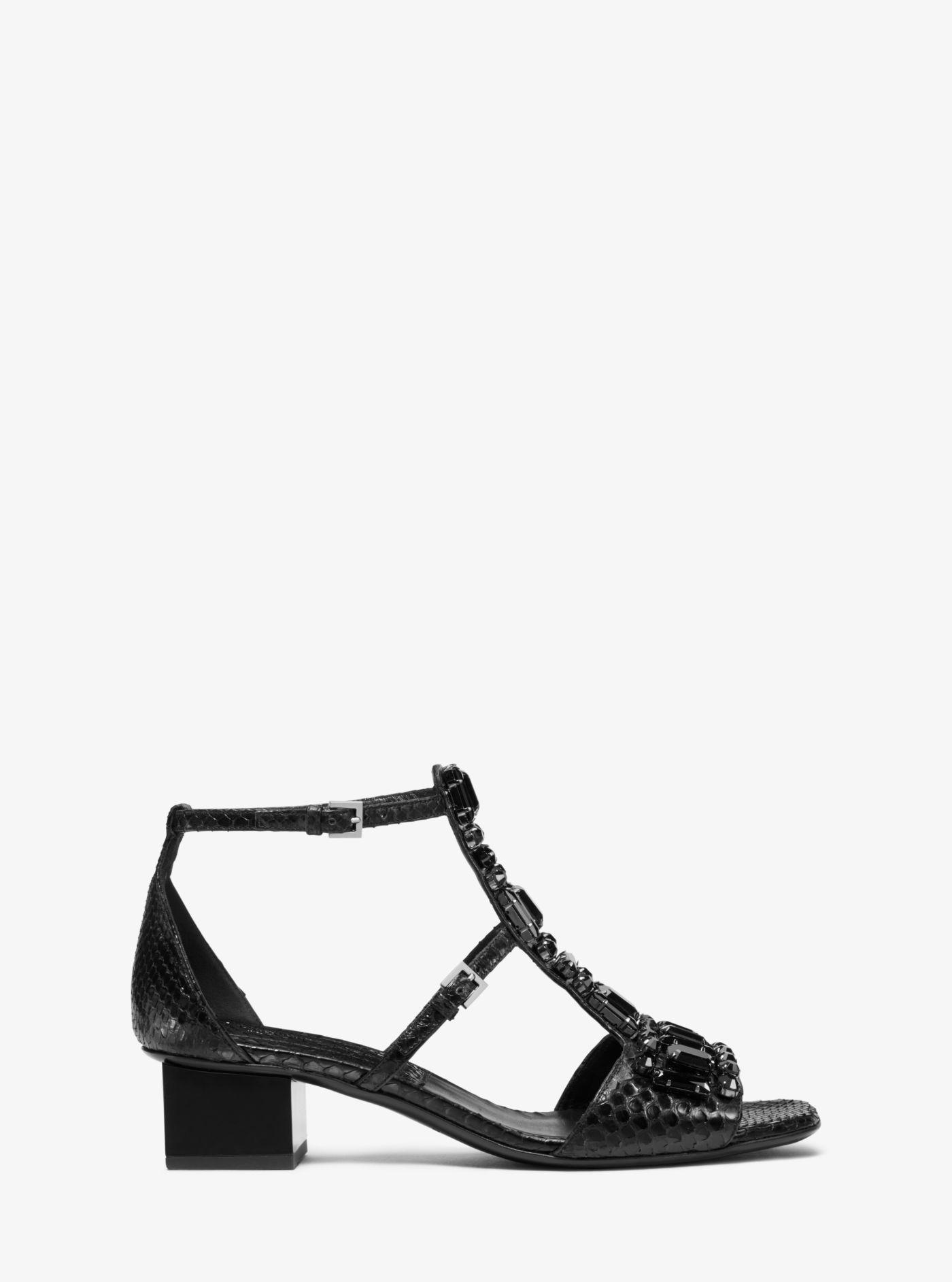 4b2b6aa08f33 Michael Kors - Black Cecile Crystal Embellished Snakeskin Sandal - Lyst.  View fullscreen