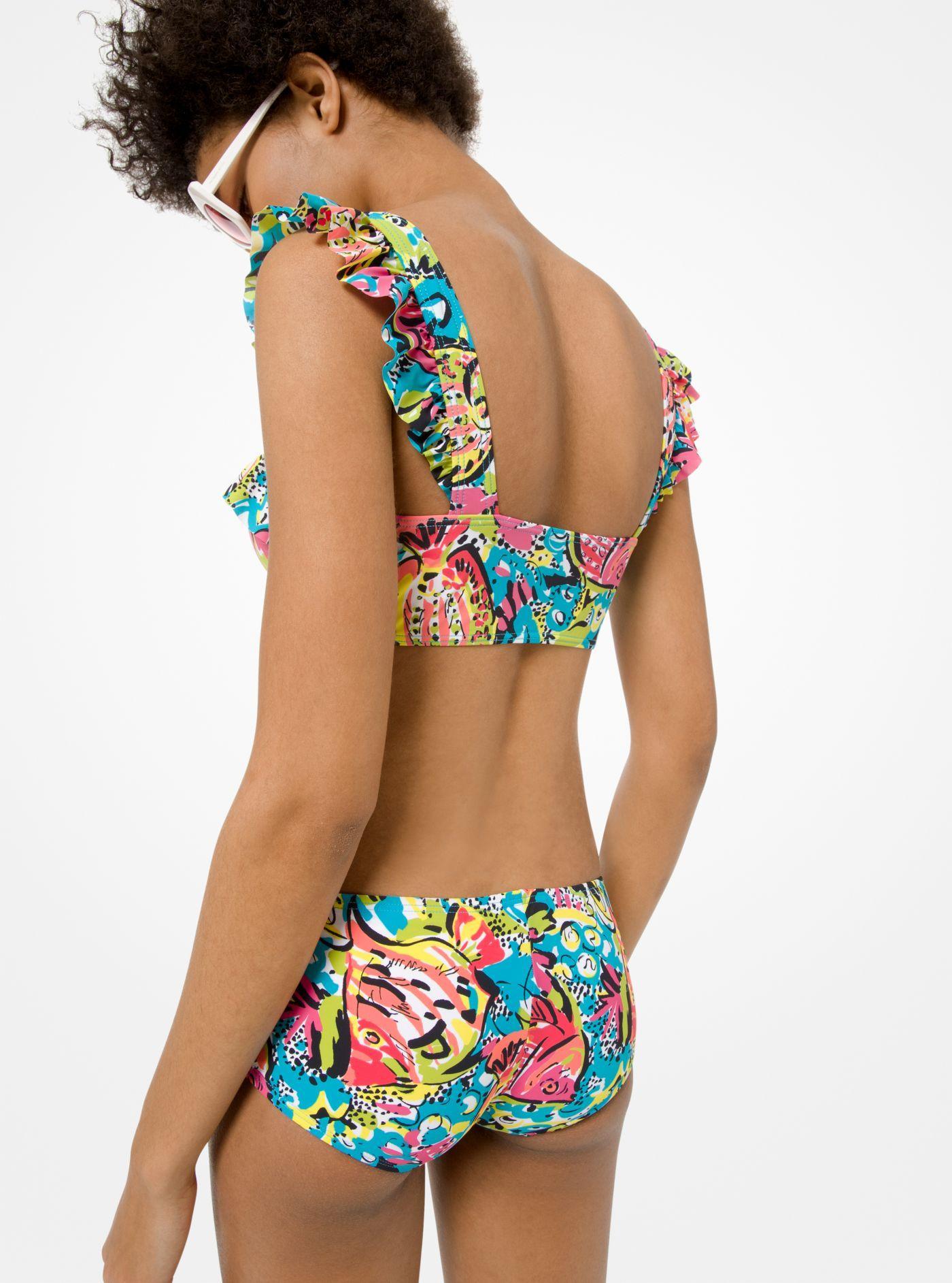 8b10dfb3f0b9f Michael Kors - Blue Aquatic Matte-jersey Bikini Set - Lyst. View fullscreen