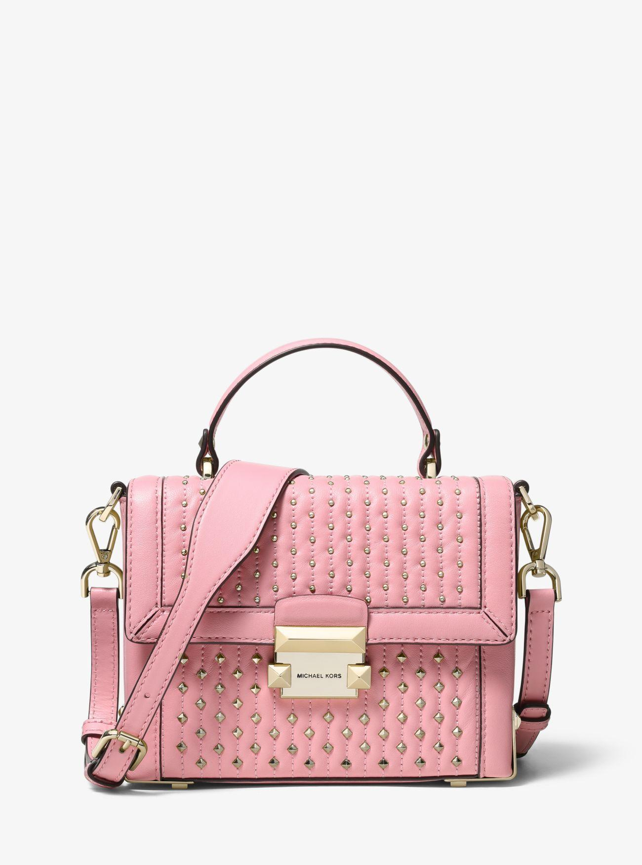25d022d7ec17a Lyst - MICHAEL Michael Kors Jayne Small Studded Leather Trunk Bag in ...