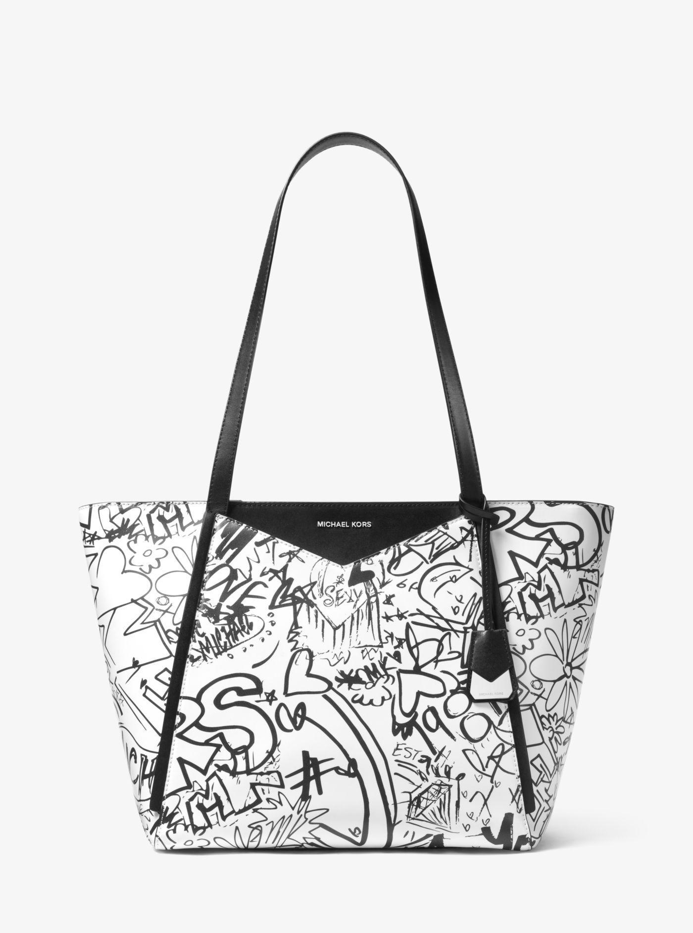 154f9024dde8 Lyst - Michael Kors Whitney Large Graffiti Leather Tote
