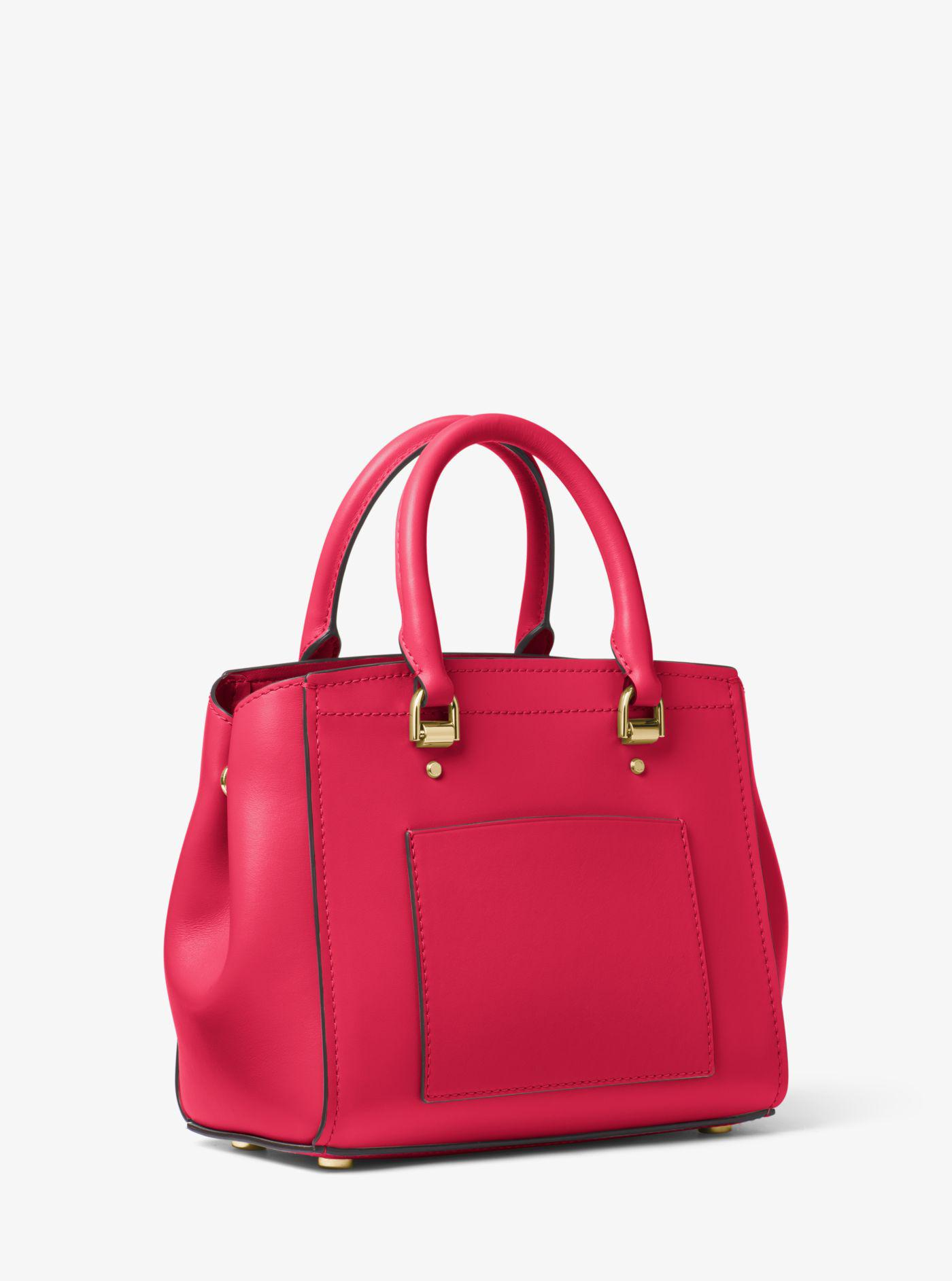 1efd76878a48 Lyst - Michael Kors Benning Medium Leather Satchel in Pink