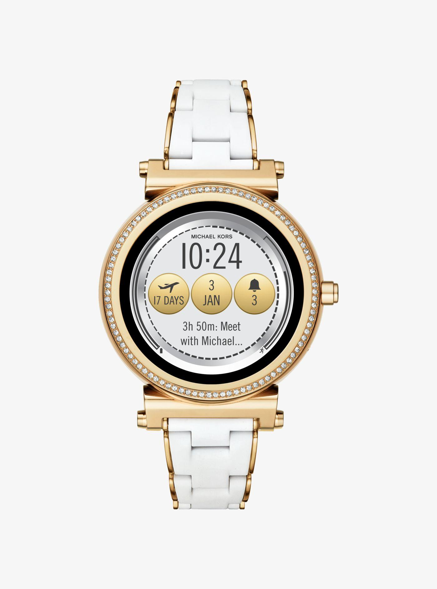 67e21a350efc Michael Kors - Metallic Sofie Pavé Gold-tone And Silicone Smartwatch -  Lyst. View fullscreen