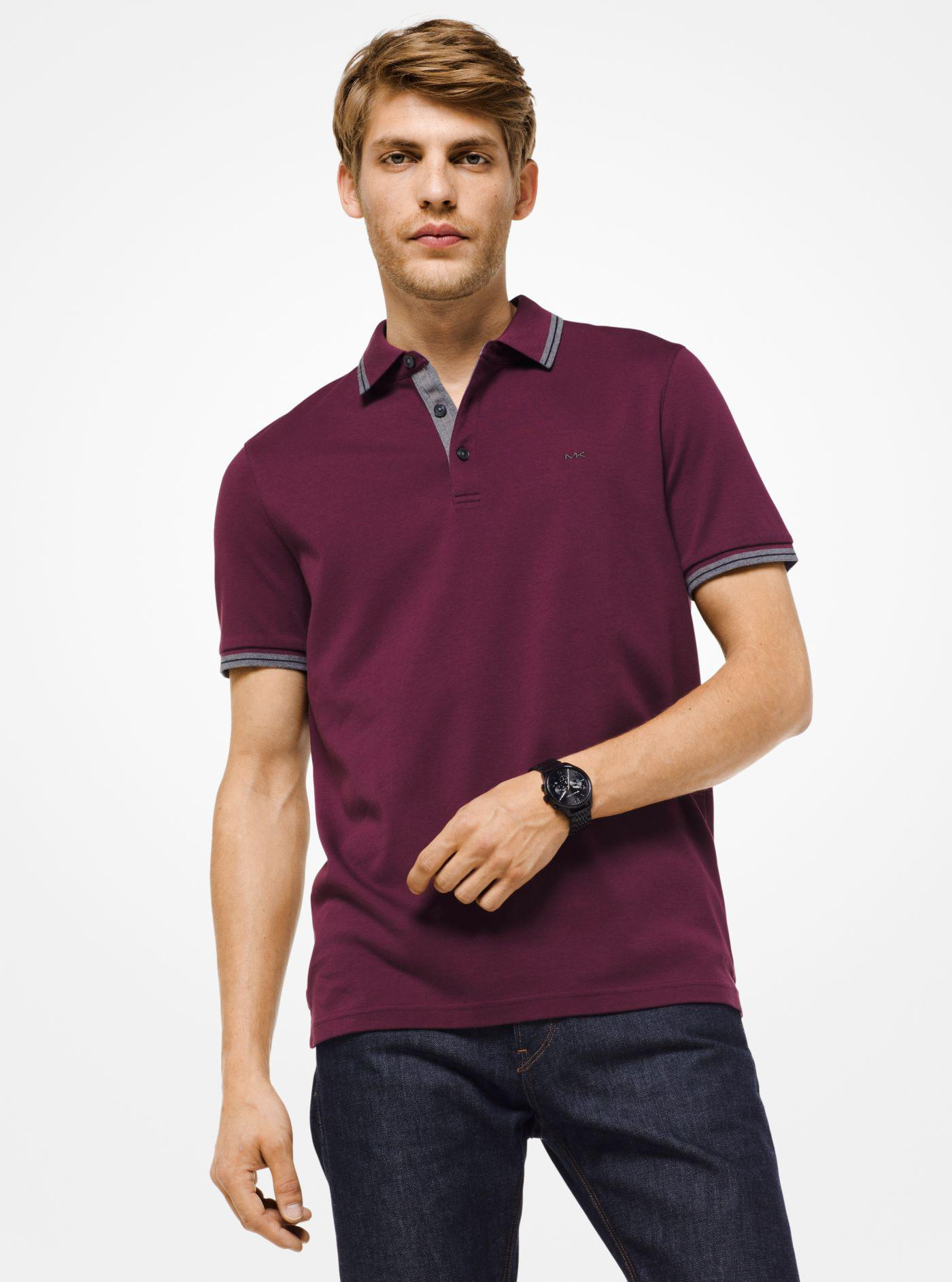 904e5ea88 Michael Kors Greenwich Cotton Polo Shirt in Purple for Men - Lyst