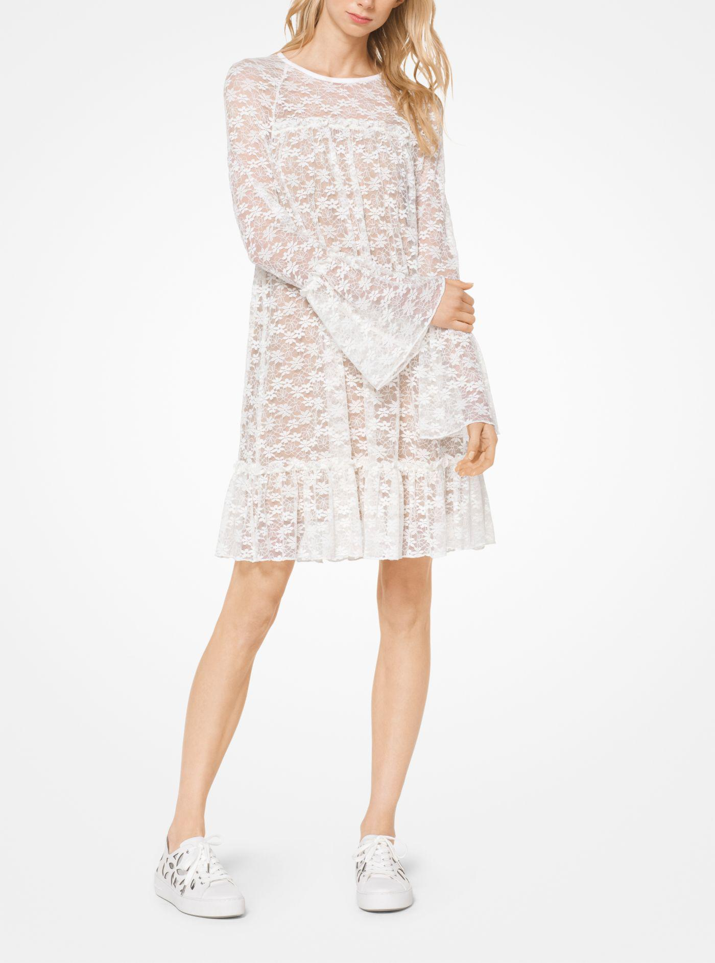 5a51532910d Lyst - Michael Kors Floral Lace Dress in White