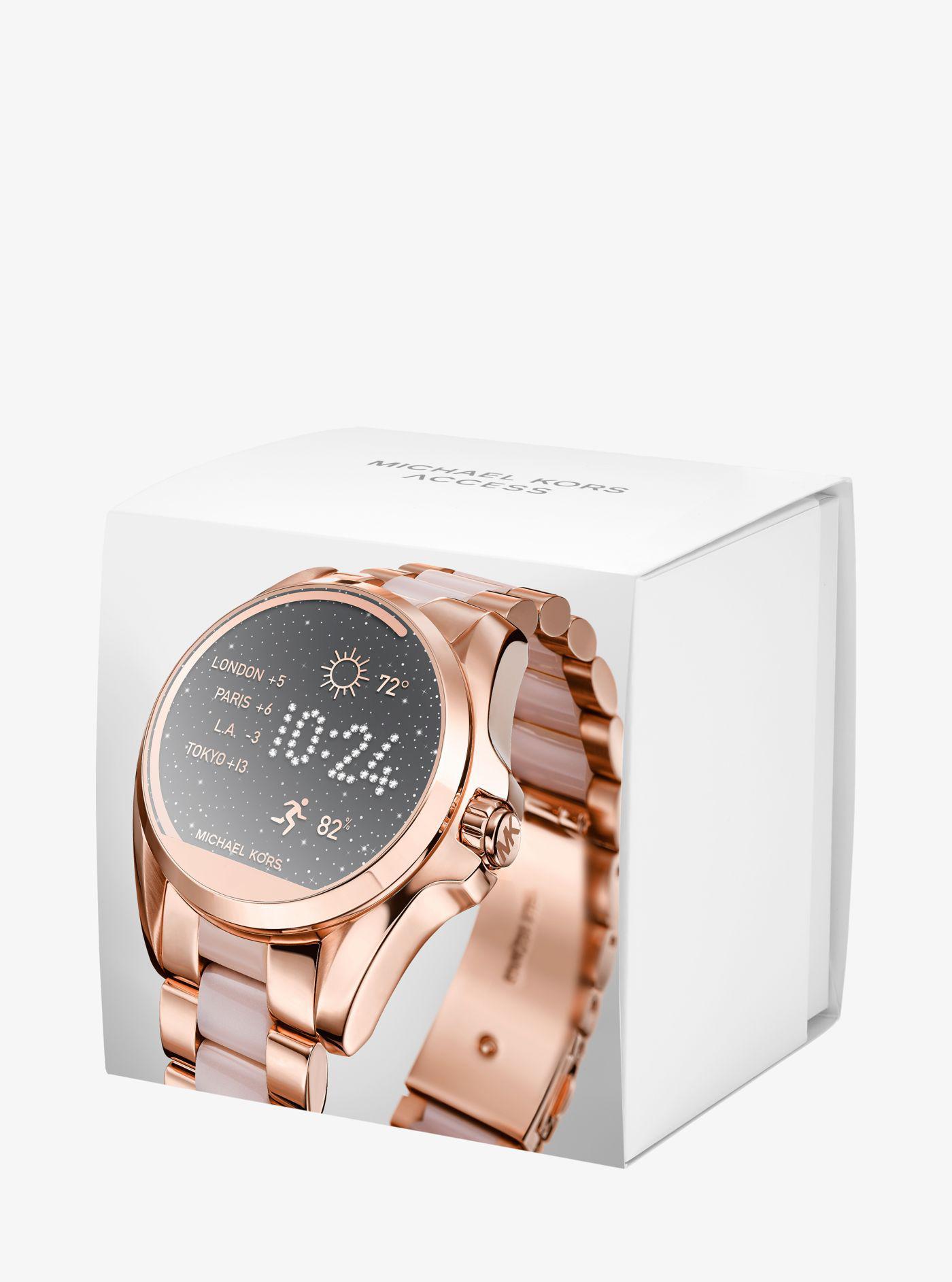 Michael Kors Bradshaw Rose Gold Tone And Acetate Smartwatch Lyst