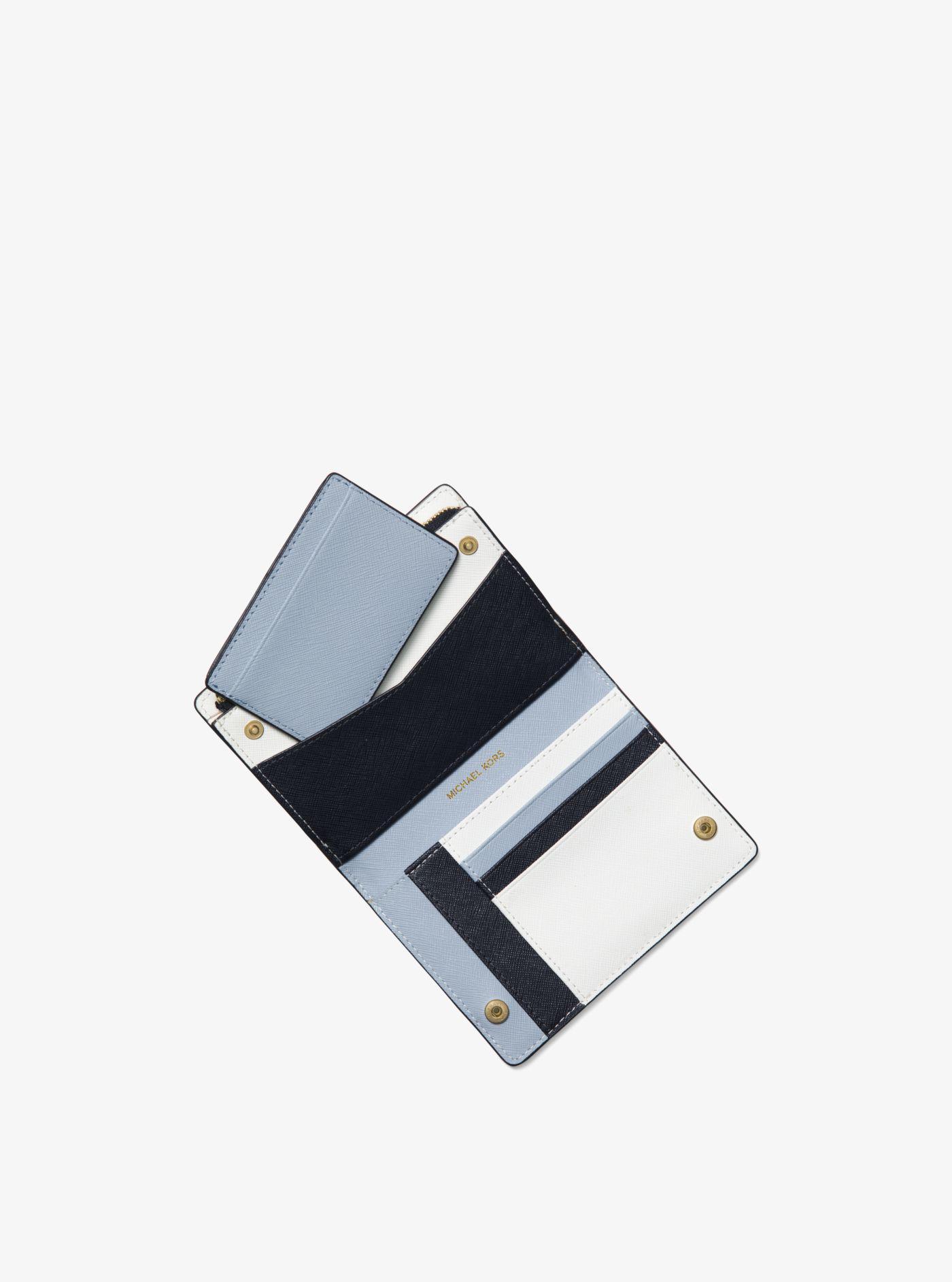 40c77806603f Lyst - Michael Kors Medium Saffiano Leather Slim Wallet in Blue