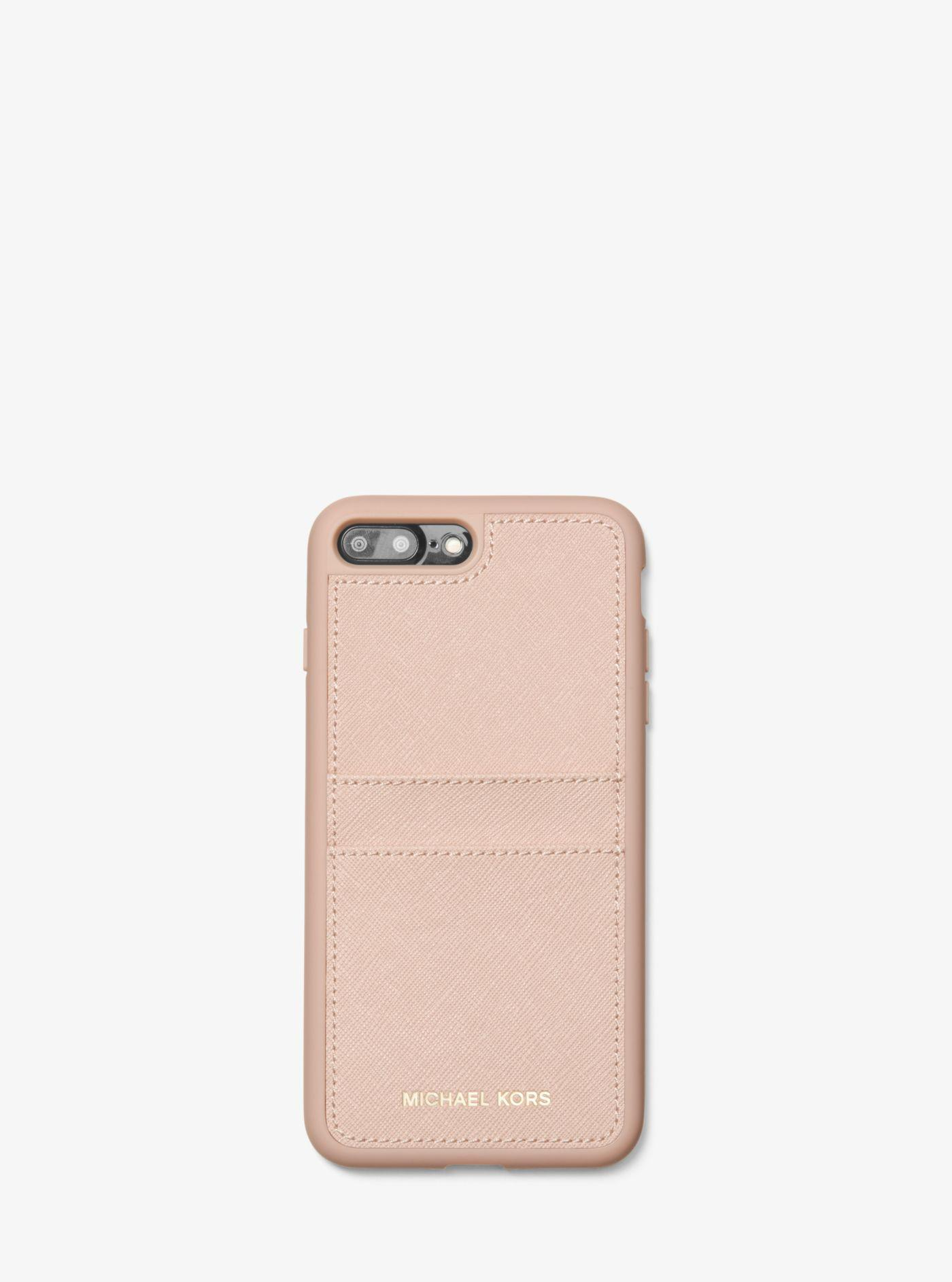timeless design e6b5b 349a8 Michael Kors Pink Saffiano Leather Case For Iphone 7/8 Plus