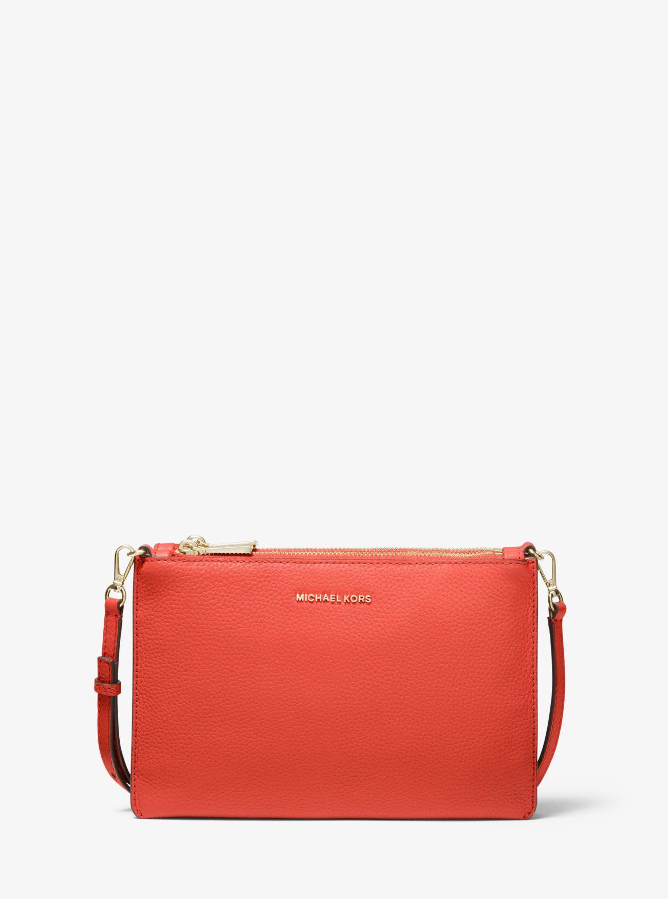 cbdc626baabb Lyst - MICHAEL Michael Kors Adele Pebbled Leather Crossbody Bag in Pink