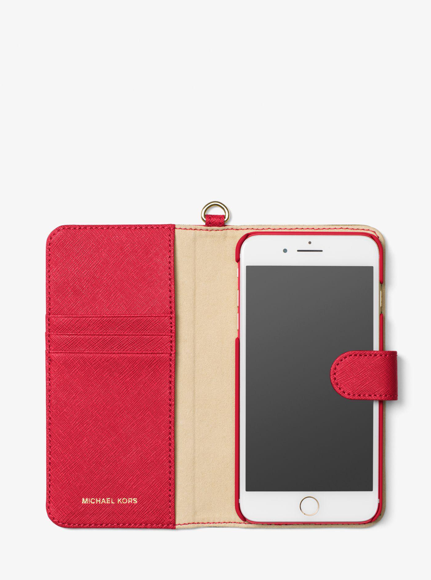 quality design cf1b7 69ea6 Michael Kors Red Saffiano Leather Folio Phone Case For Iphone 7 Plus