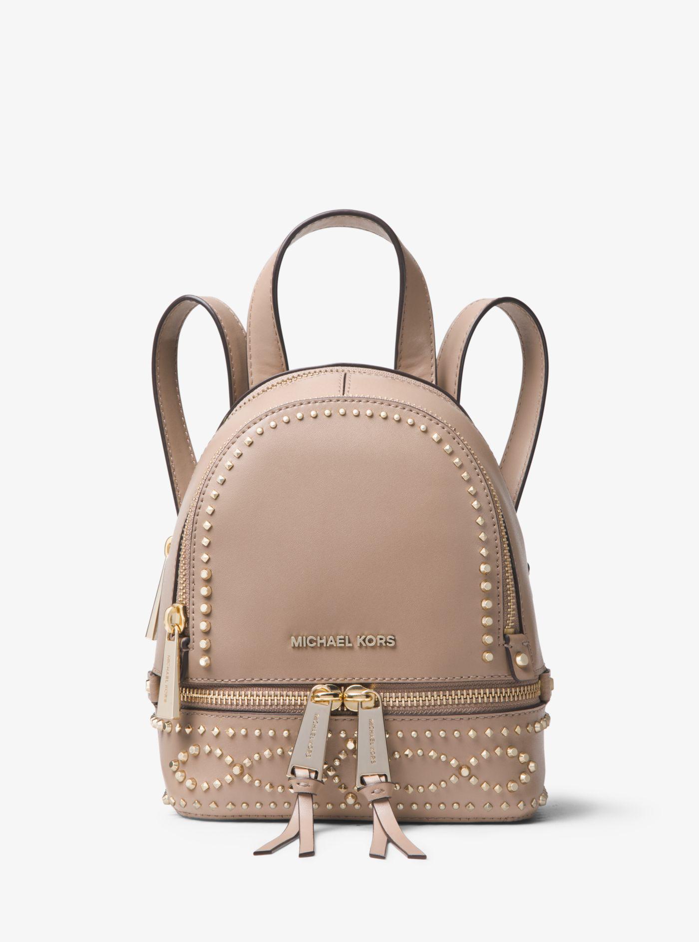 0127f4bb367e ... reduced michael kors multicolor rhea mini studded leather backpack lyst.  view fullscreen 4ec84 72d57 ...