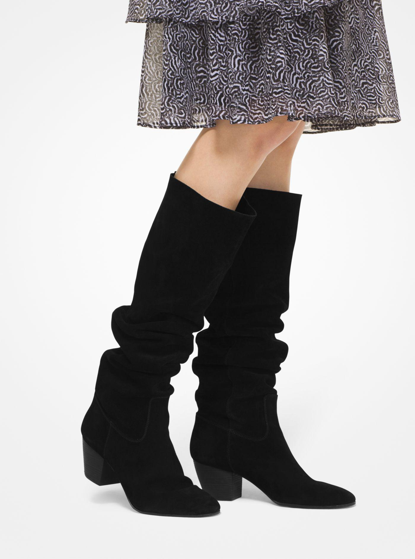 Michael Kors Avery Suede Boot in Black