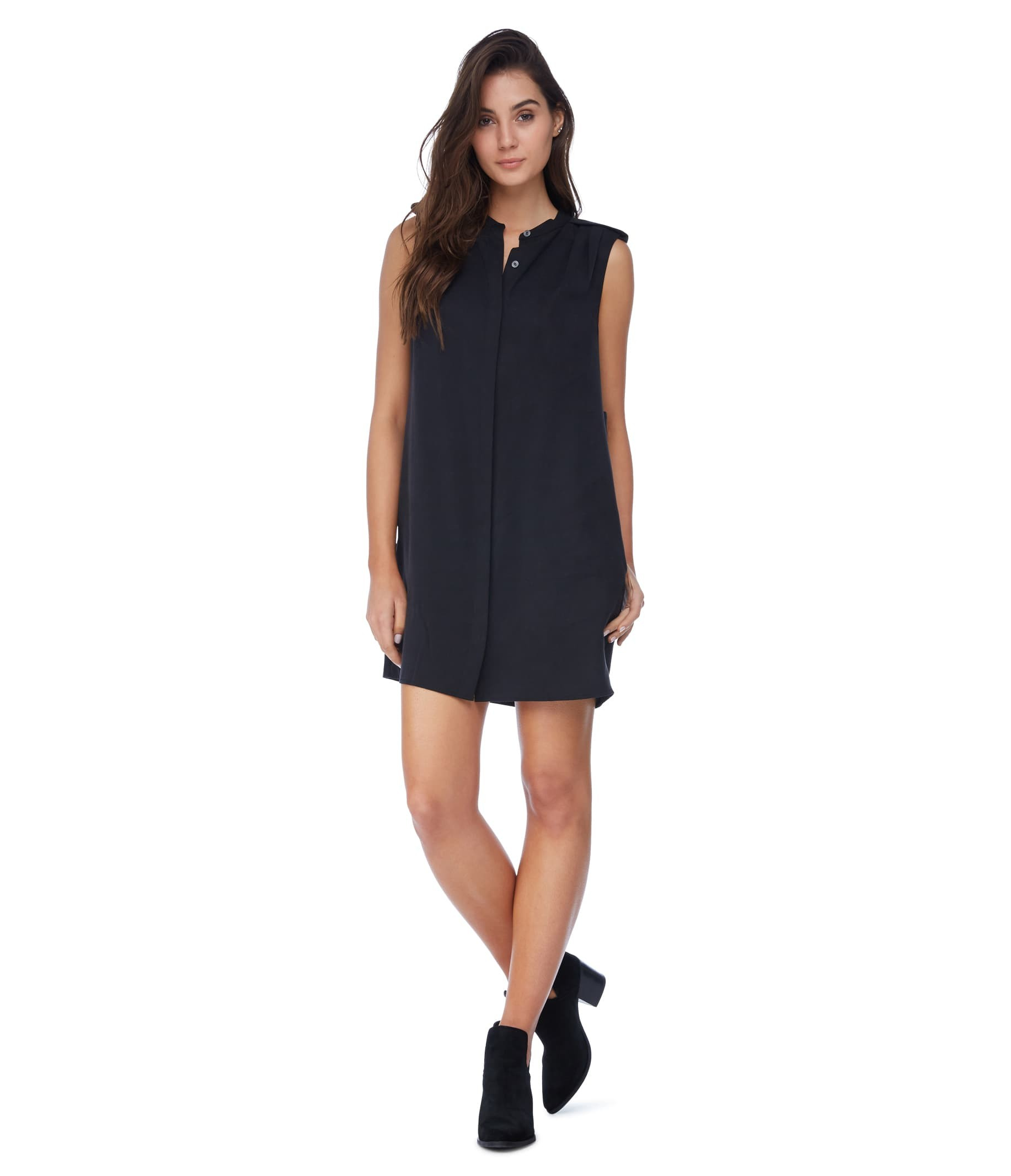 Michael stars tencel pleated shoulder shirt dress in black for Michael stars t shirts on sale