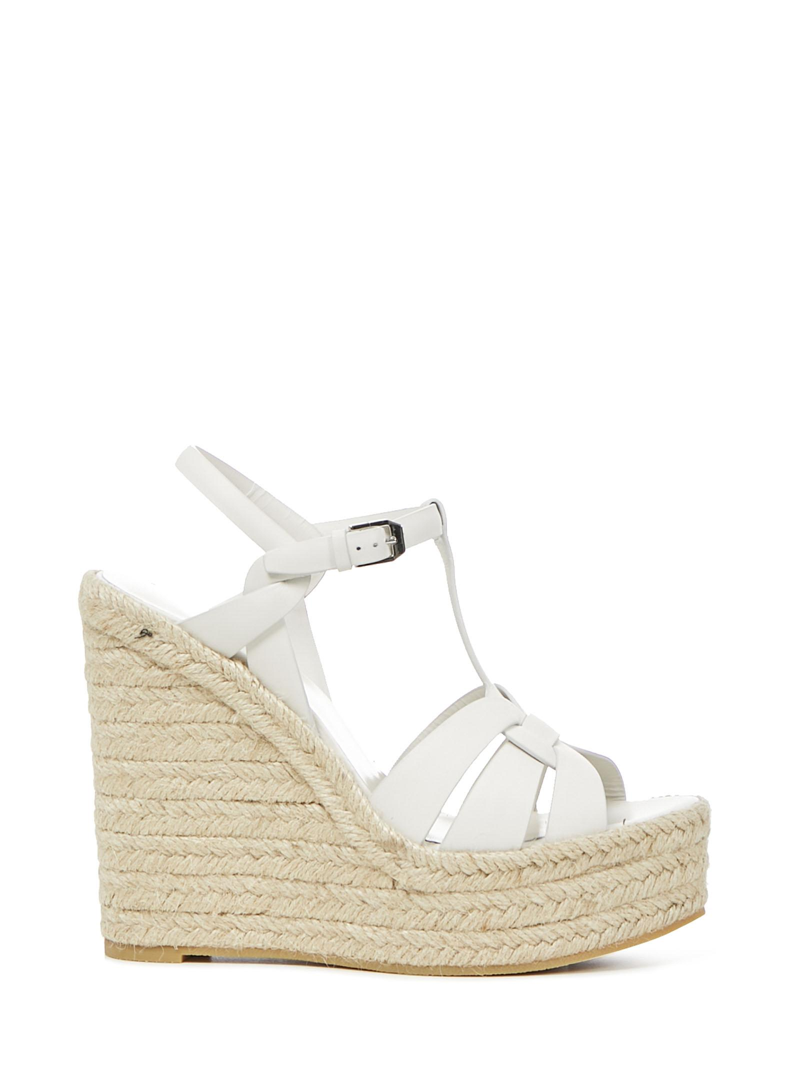 White Leather With Jute Rope Wedge Heel
