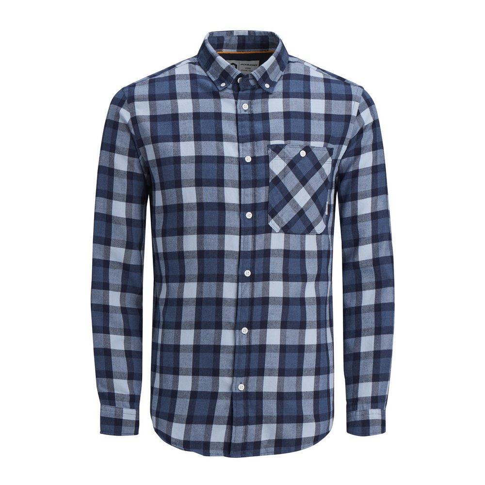 Jack & Jones Denim Overhemd Met Lange Mouwen Slim Fit Geruit in het Blauw voor heren