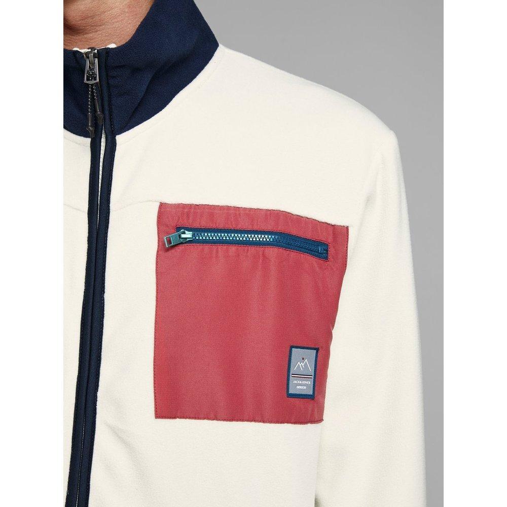 Jack & Jones Vest Fleece Rits in het Naturel voor heren