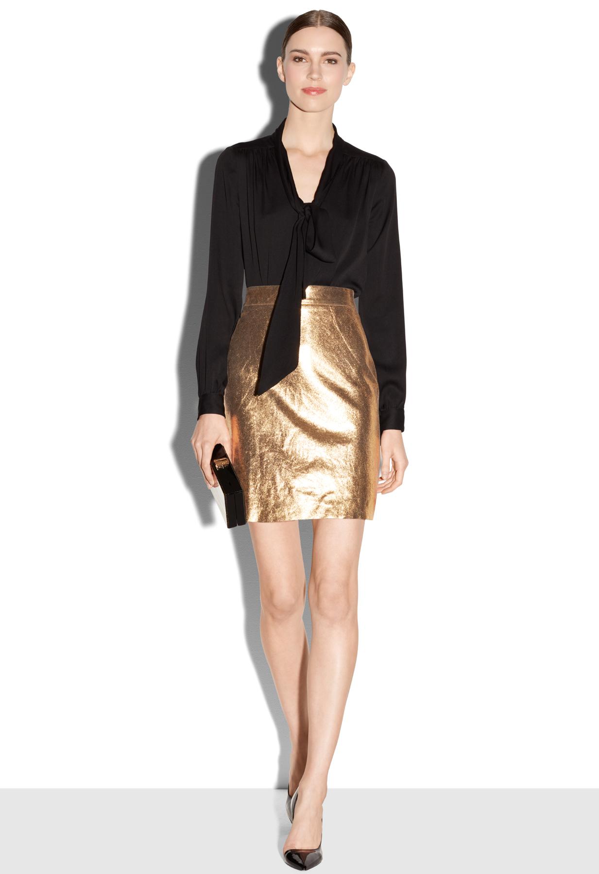 milly metallic leather modern mini skirt in metallic lyst