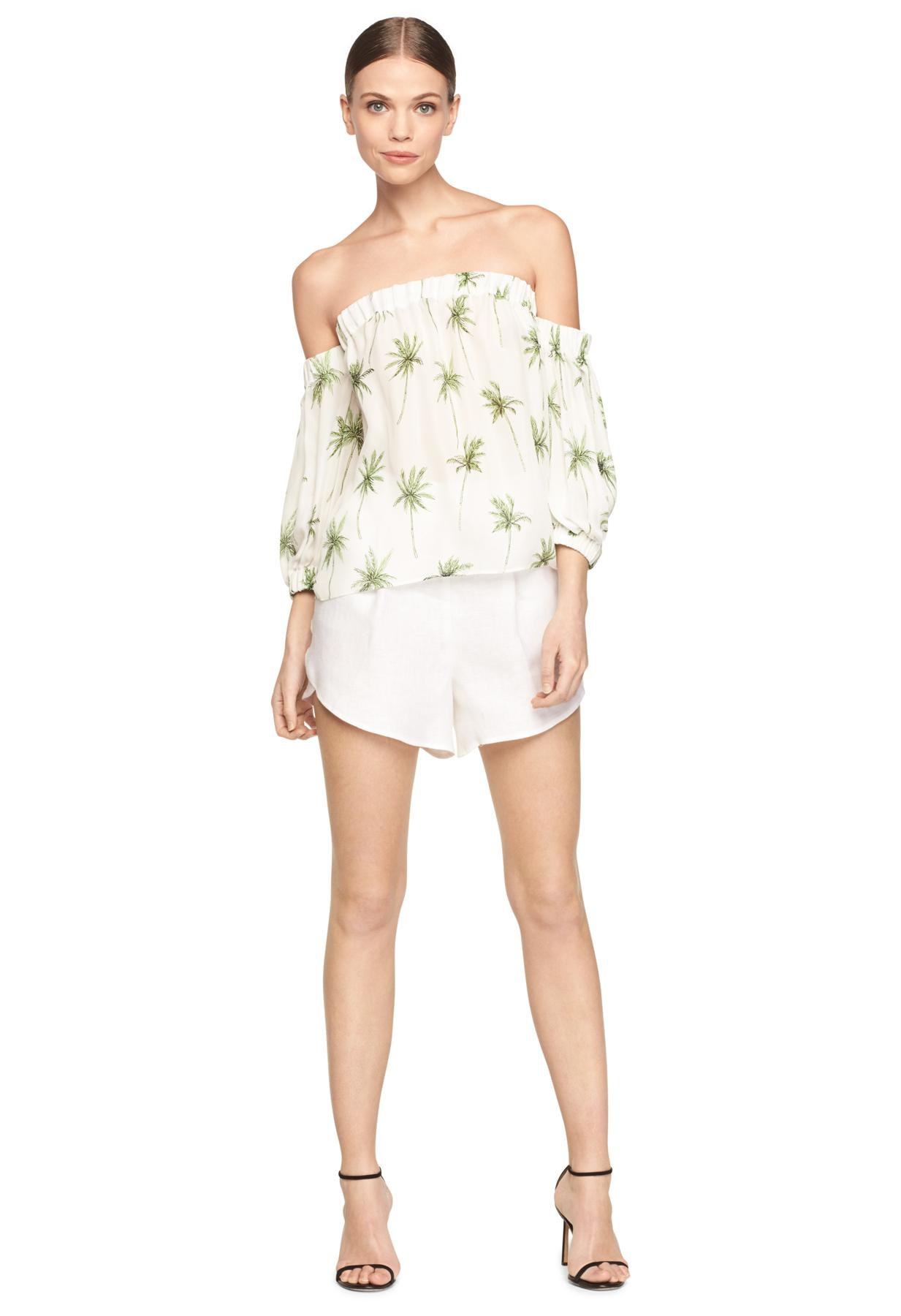 c041a1eab9d9b9 Lyst - MILLY Palm Tree Off The Shoulder Blouse