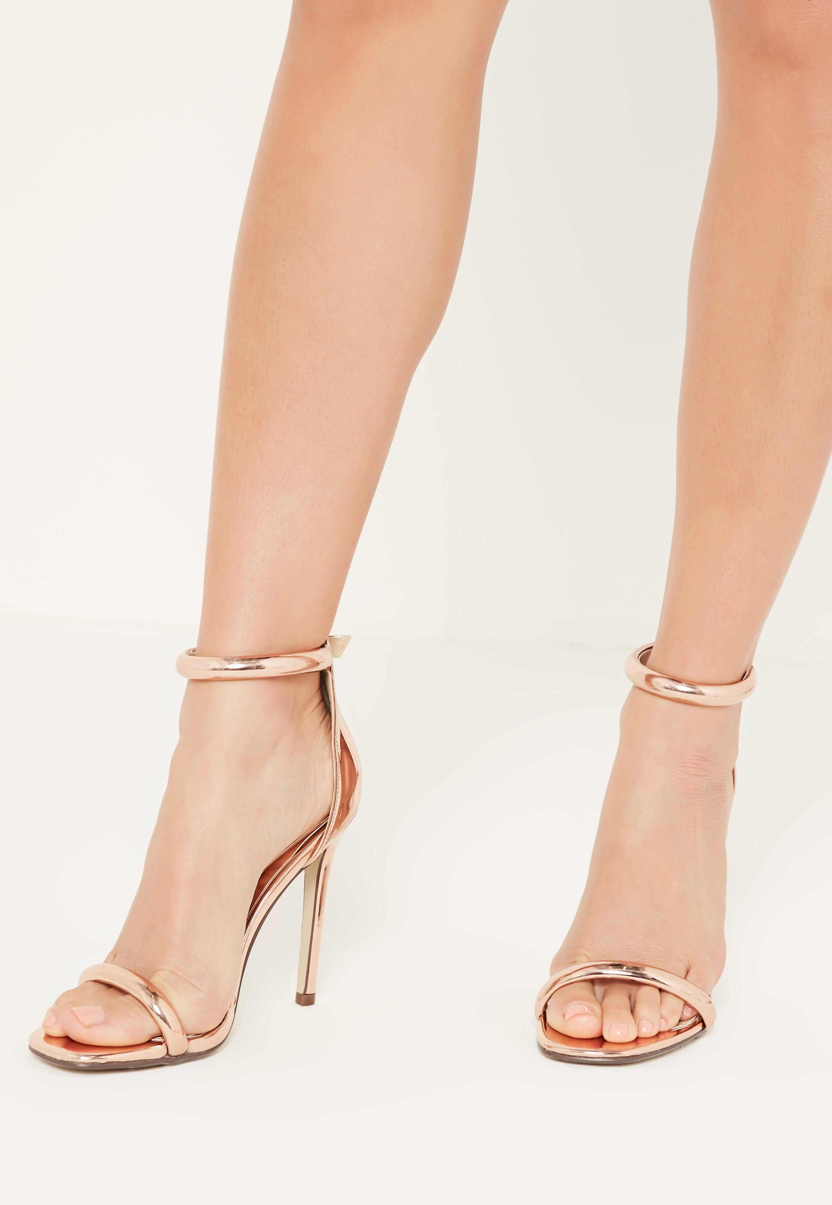 a3f6b81c4a7ed0 Lyst - Missguided Rose Gold Rounded Strap Barely There Sandals in Pink