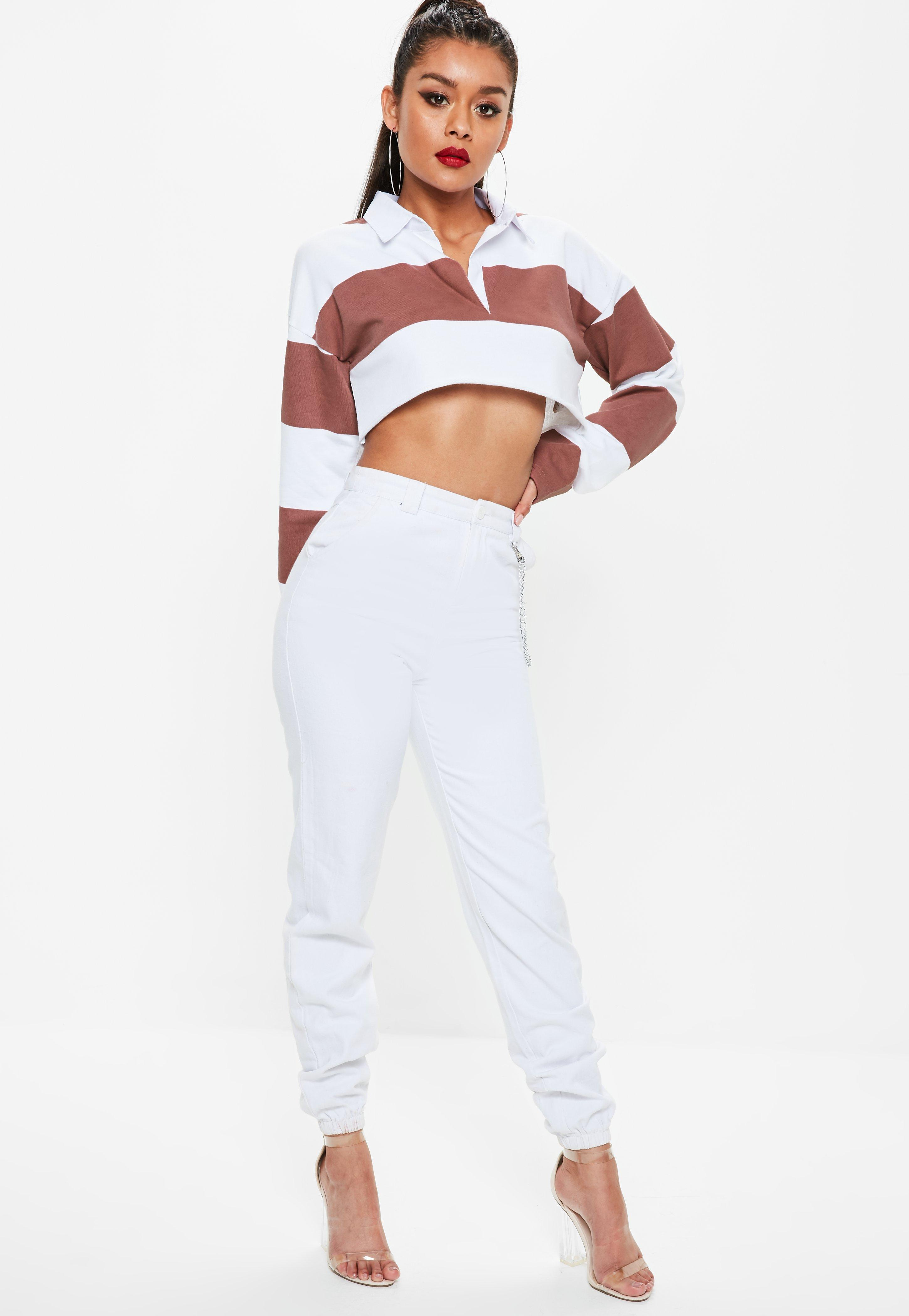 07187a8436bef Lyst - Missguided Rose Pink Stripe Boxy Crop Rugby Shirt in Pink