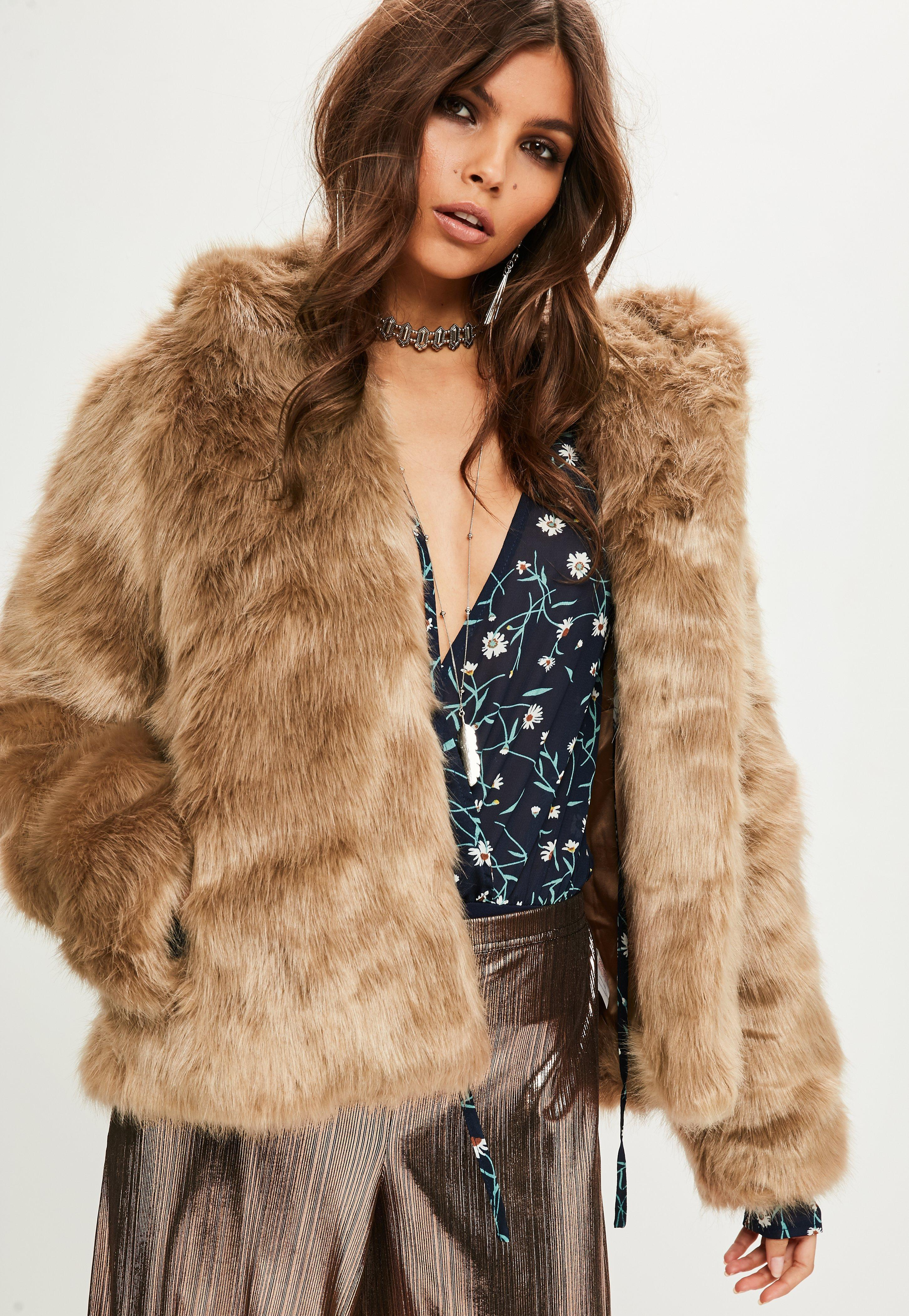 Nude Ruched Sleeve Faux Fur Coat | Missguided