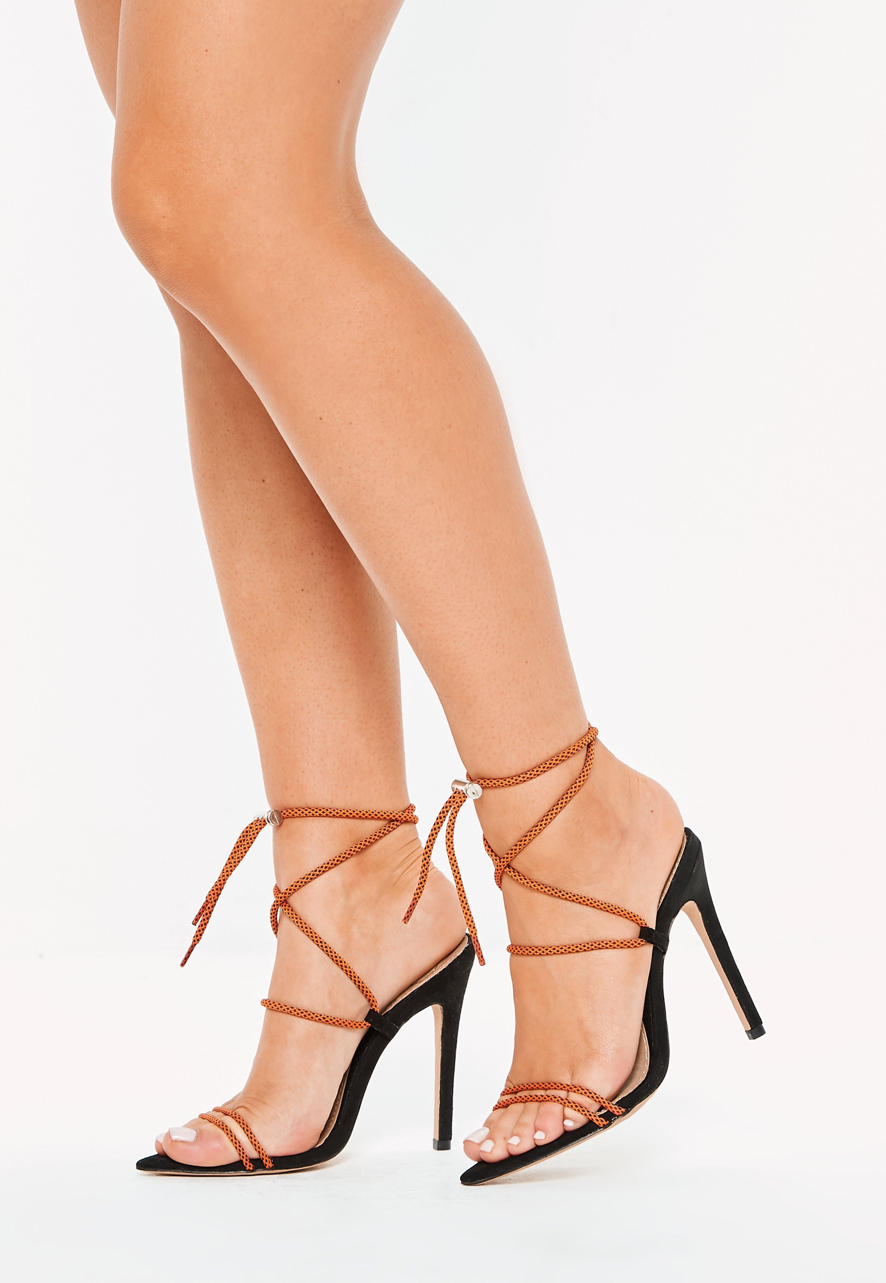 47f33d08828 Lyst - Missguided Orange Rope Pointed Toe Heeled Sandals in Orange
