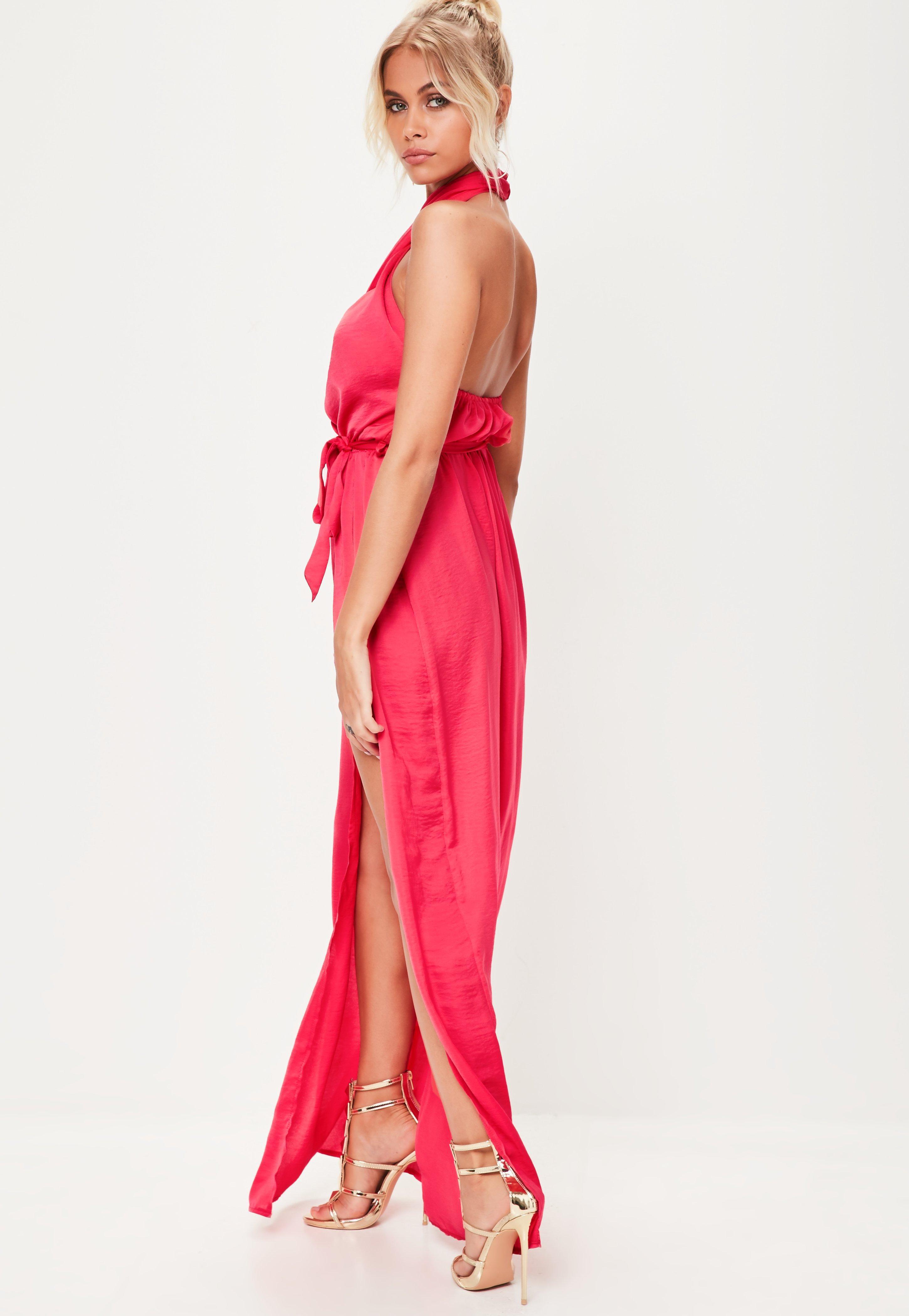 Lyst - Missguided Pink Satin Twist Maxi Dress in Pink