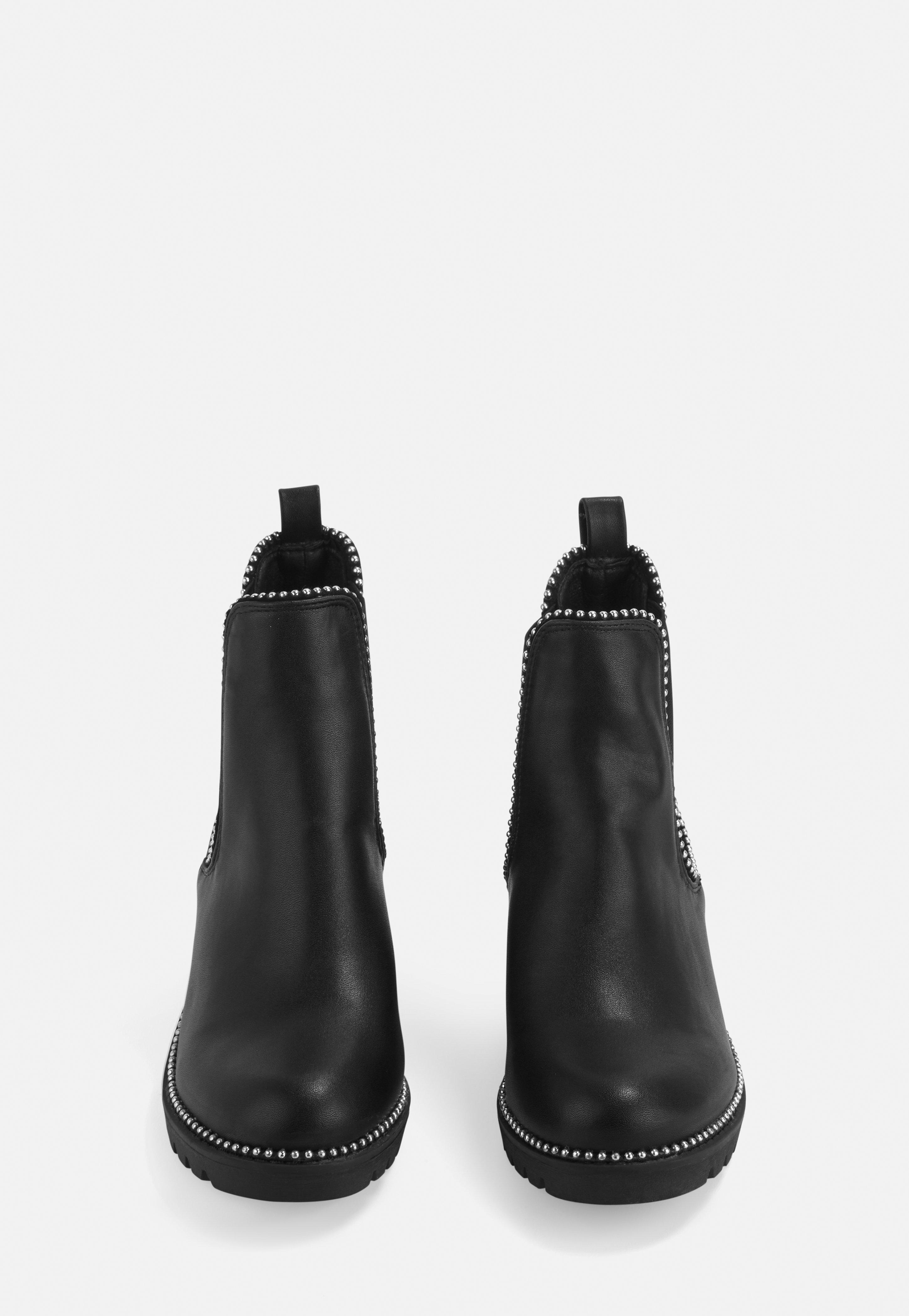 Ball Trim Chelsea Ankle Boots in Black