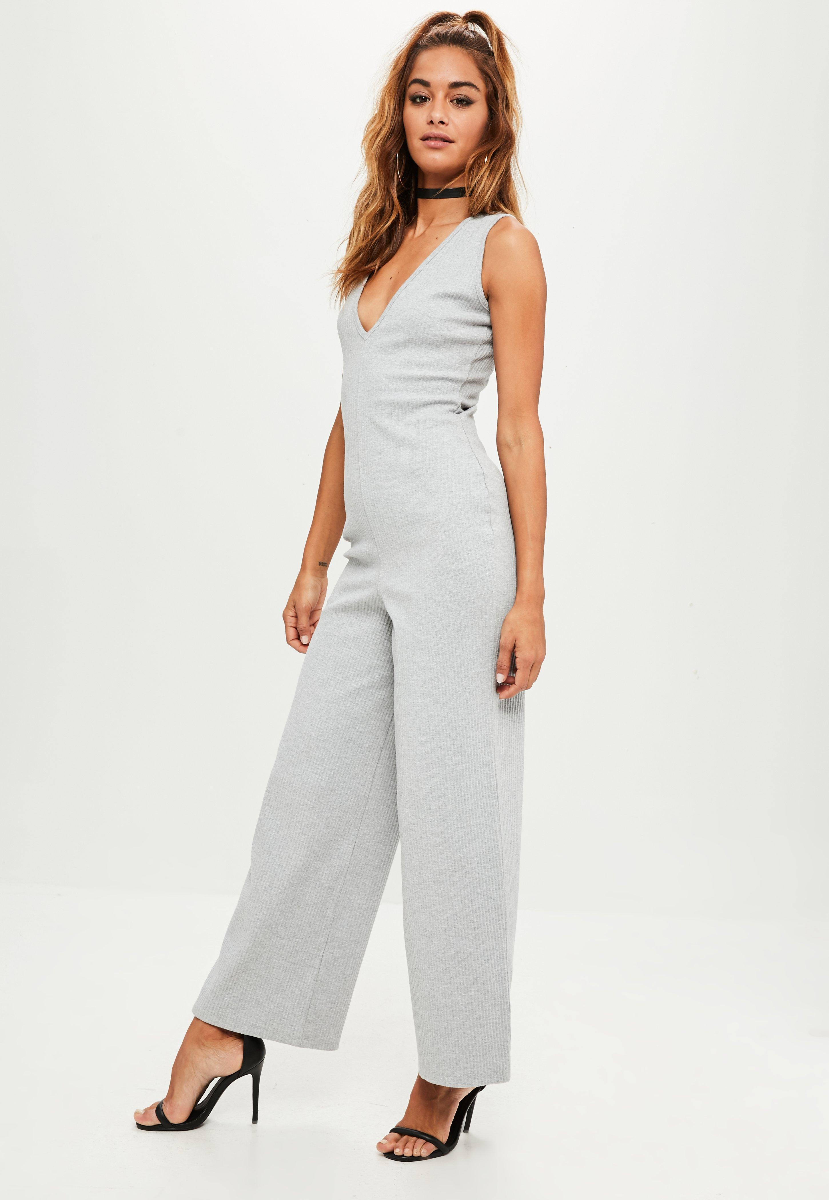 bc57bf2fbf7f Missguided Grey V Front Ribbed Jumpsuit in Gray - Lyst
