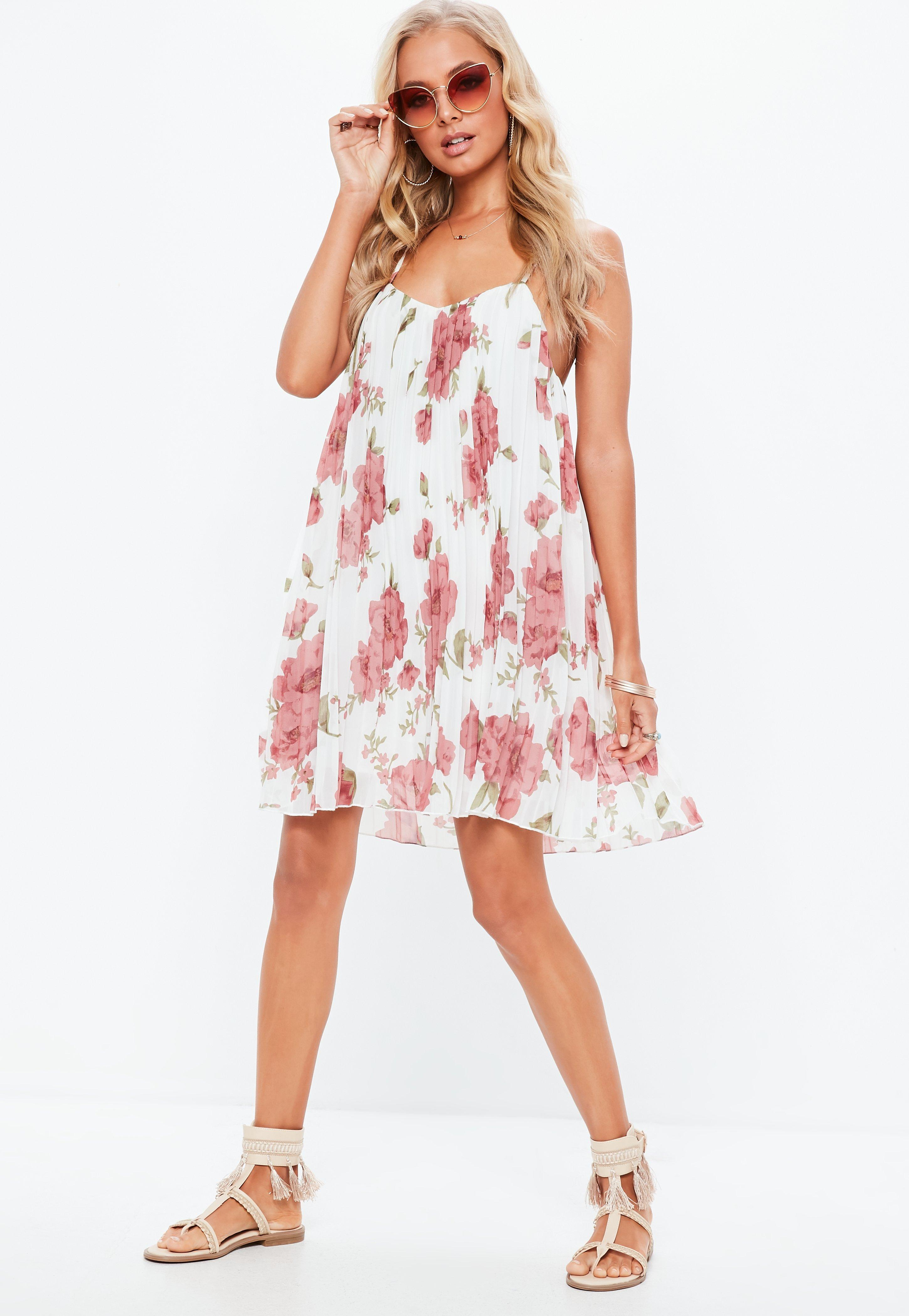 b34a216962f63 Lyst - Missguided White Floral Print Strappy Pleated Swing Dress in ...